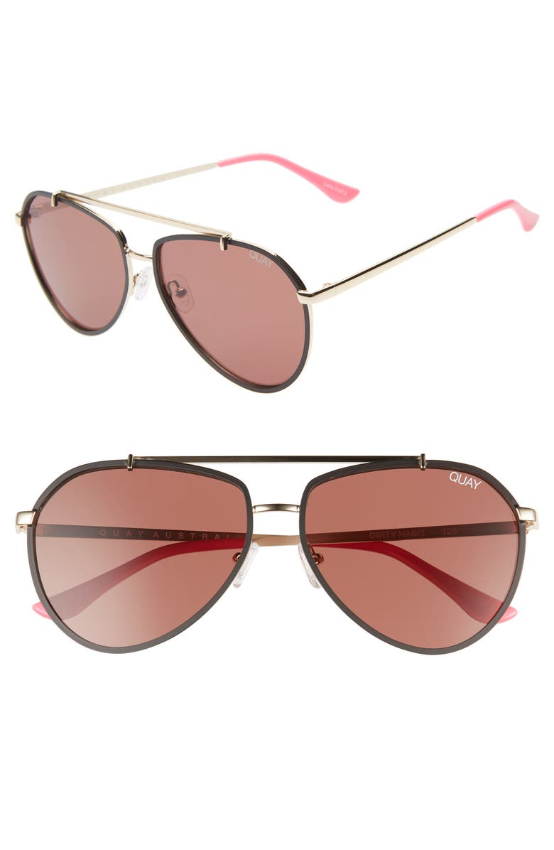 Quay Sunglasses DIRTY HABIT 61MM AVIATOR SUNGLASSES - GOLD/ BROWN