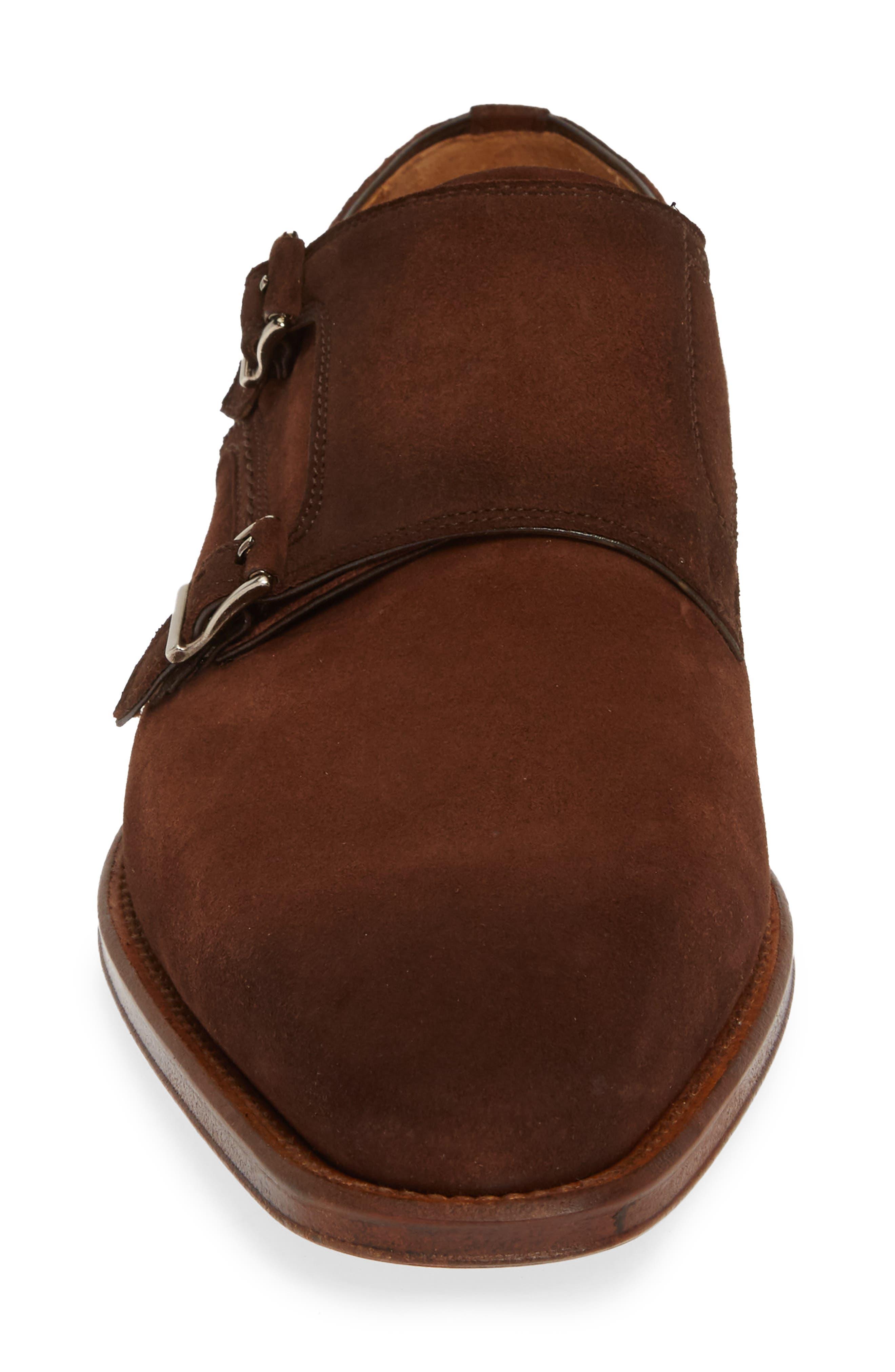 MAGNANNI, Landon Double Strap Monk Shoe, Alternate thumbnail 4, color, MID BROWN