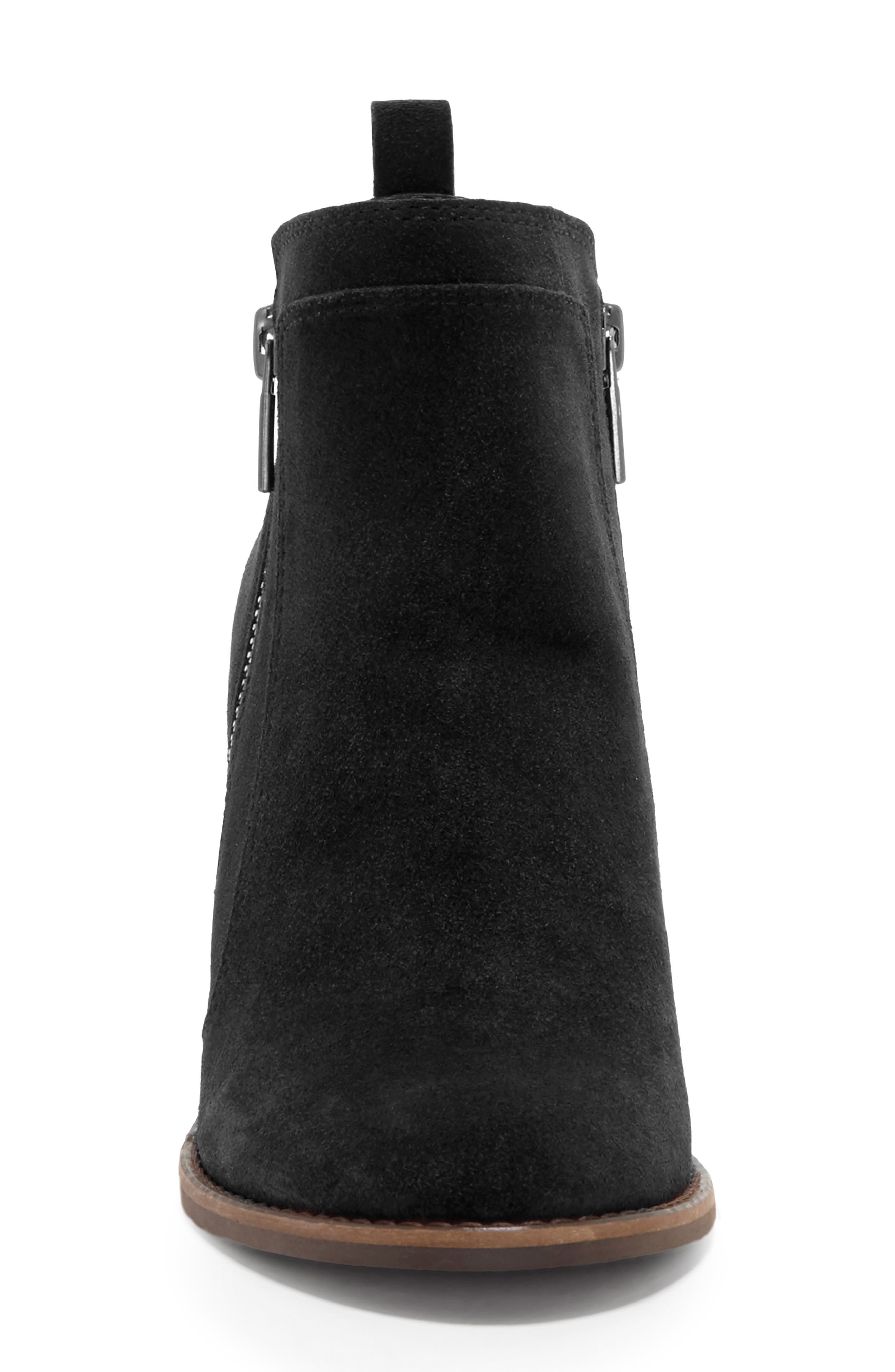 LUCKY BRAND, Yahir Wedge Bootie, Alternate thumbnail 4, color, BLACK SUEDE