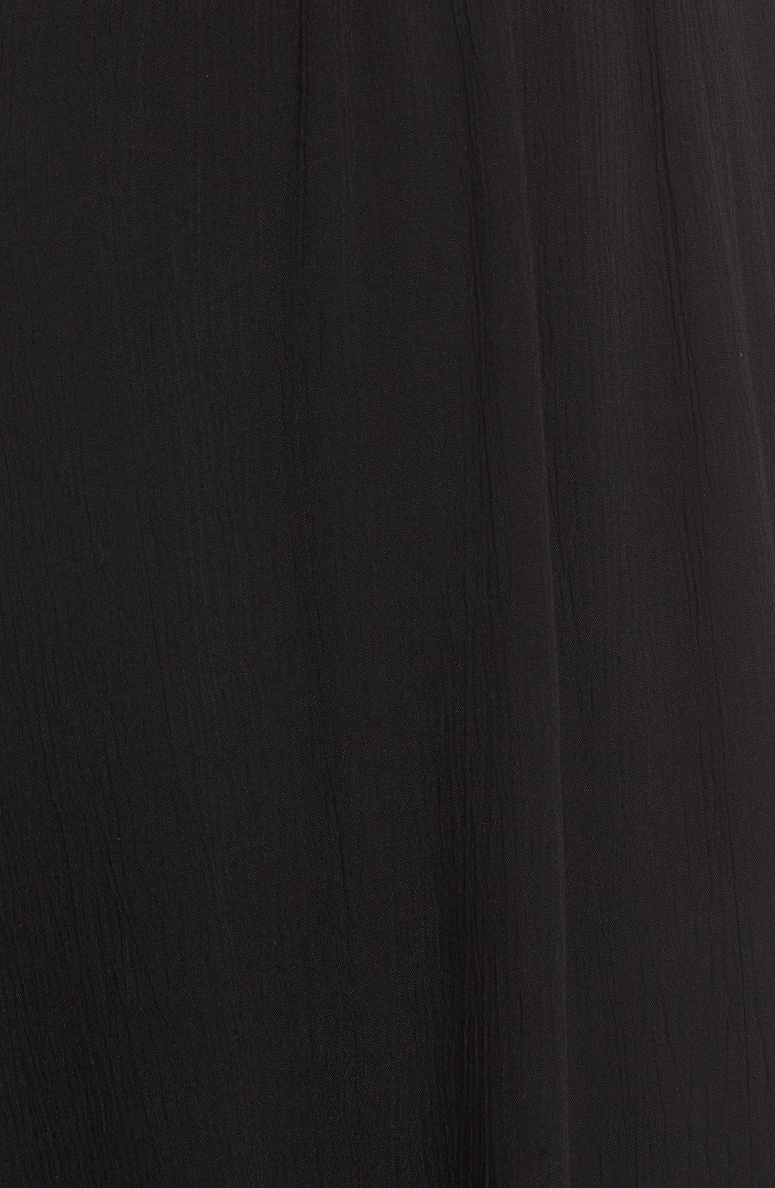 WAYF, Blouson Midi Dress, Alternate thumbnail 6, color, BLACK