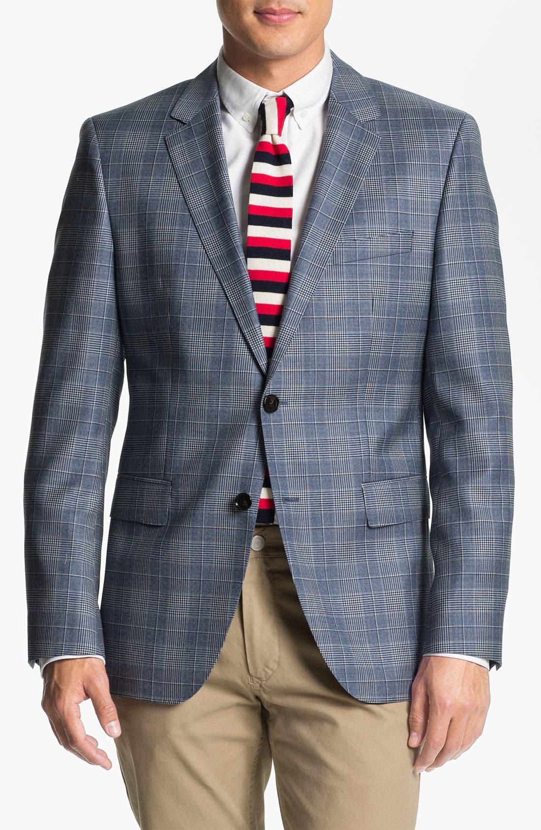 ZZDNUHUGO BOSS BOSS Black 'James' Trim Fit Plaid Sportcoat, Main, color, 460