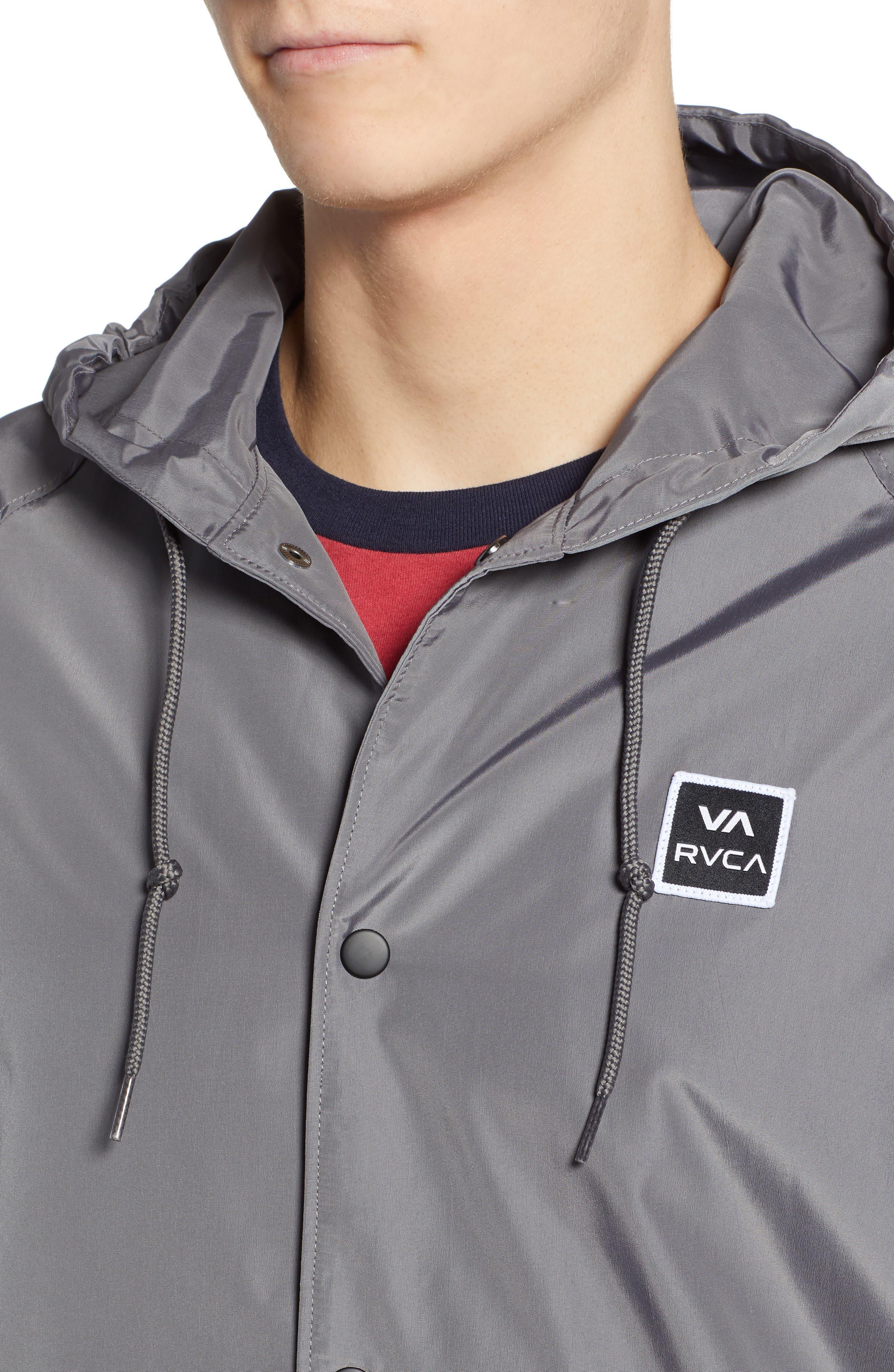 RVCA, VA Hooded Coach's Jacket, Alternate thumbnail 5, color, 026