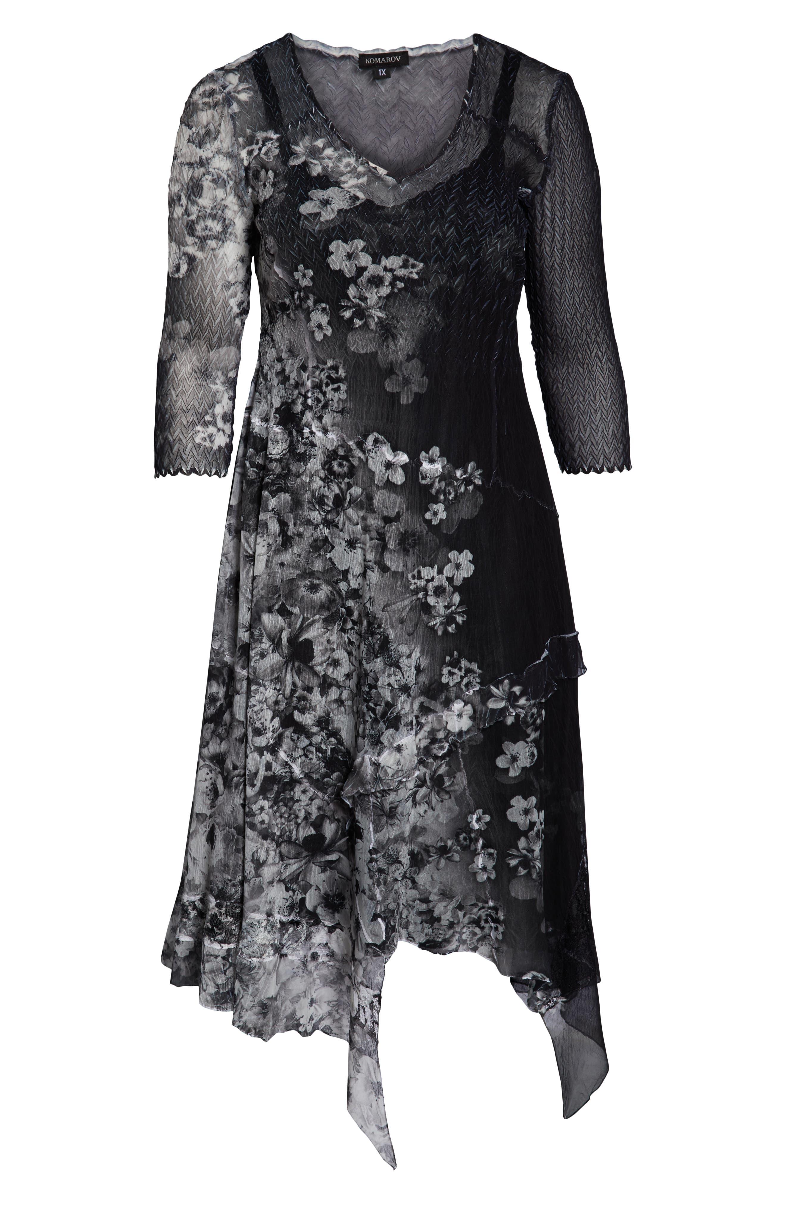 KOMAROV, Handkerchief Hem Cocktail Dress, Alternate thumbnail 7, color, MOONLIGHT BLOOM