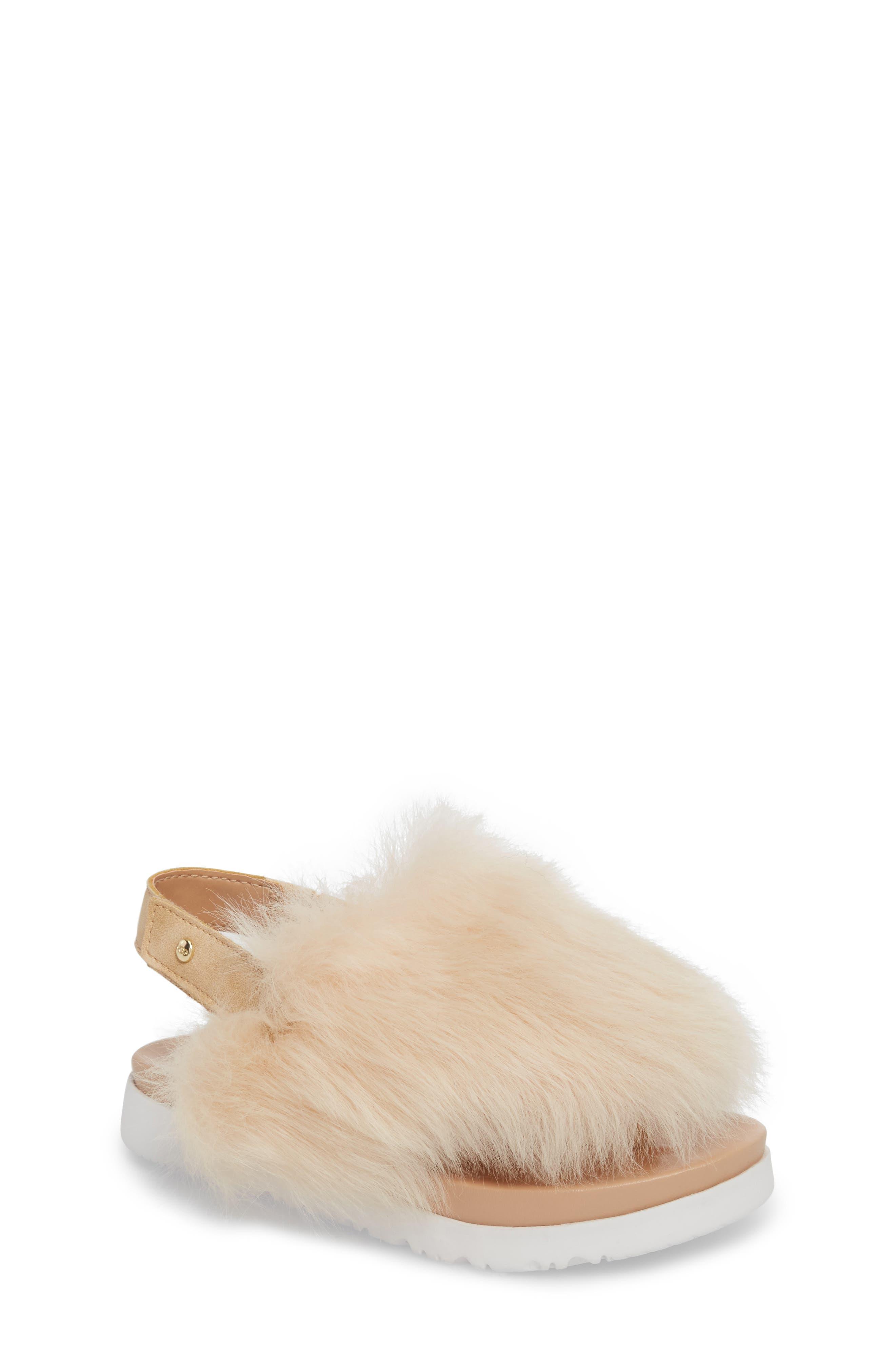 UGG<SUP>®</SUP>, Holly Genuine Shearling Sandal, Main thumbnail 1, color, SOFT OCHRE