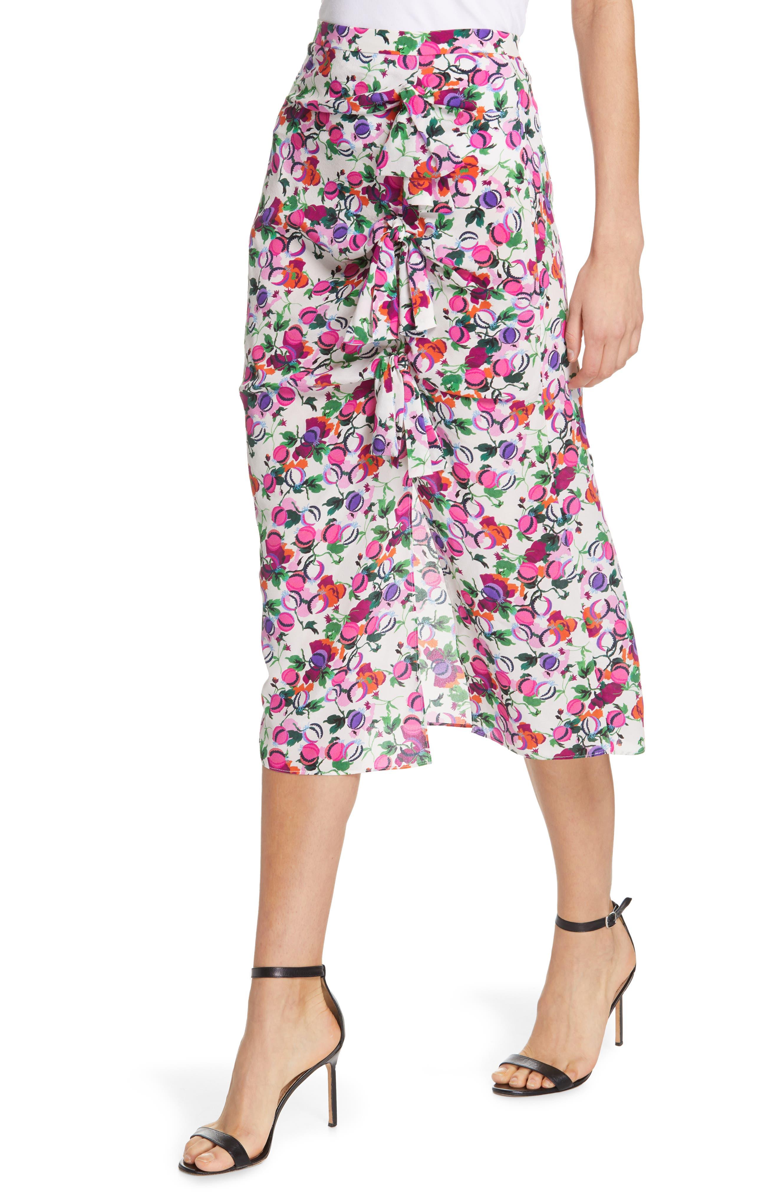 SALONI, Kelly Floral Print Silk Skirt, Alternate thumbnail 4, color, ROSE BOUNTY