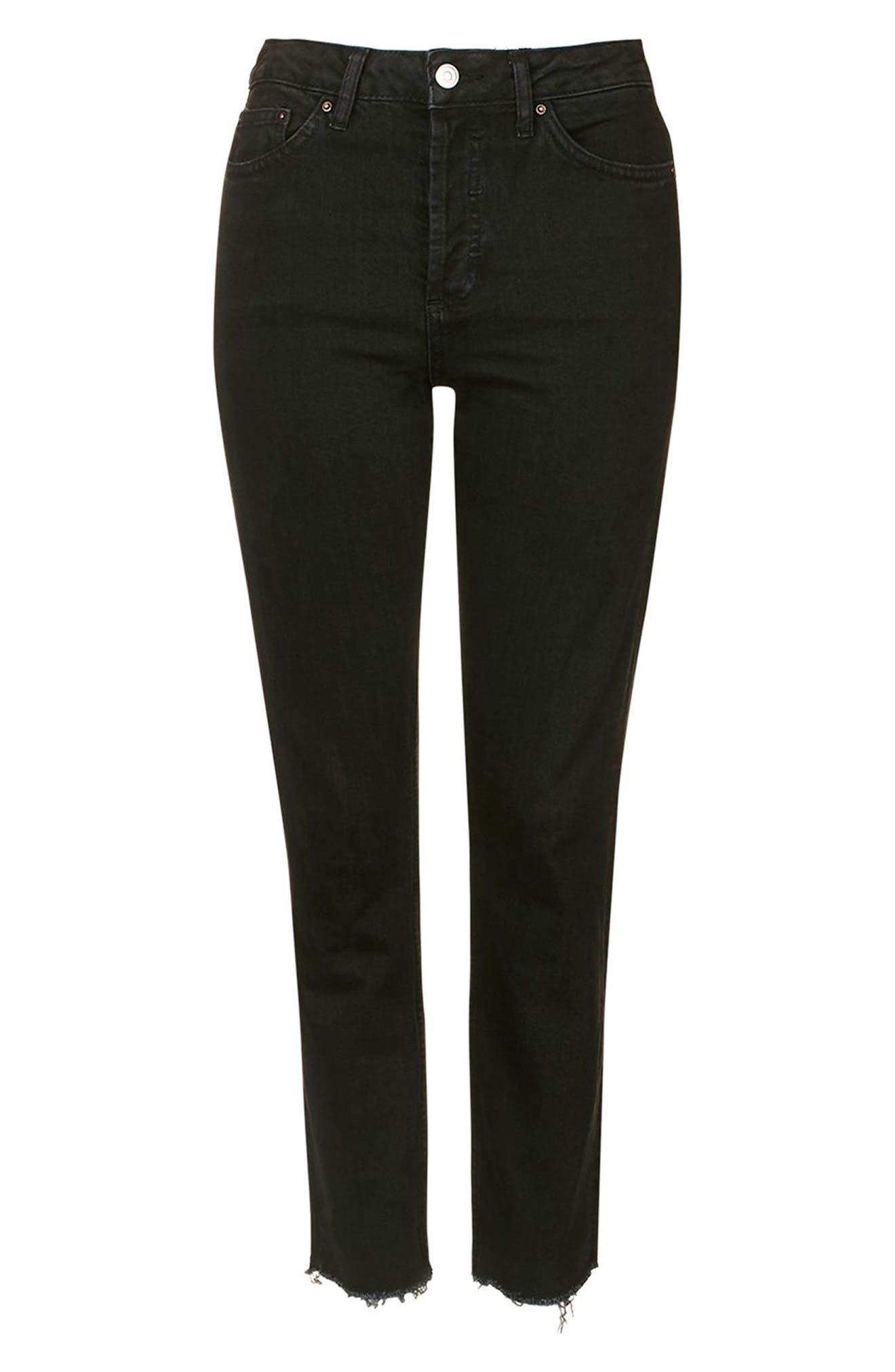 TOPSHOP, Raw Hem Straight Leg Jeans, Alternate thumbnail 5, color, WASHED BLACK