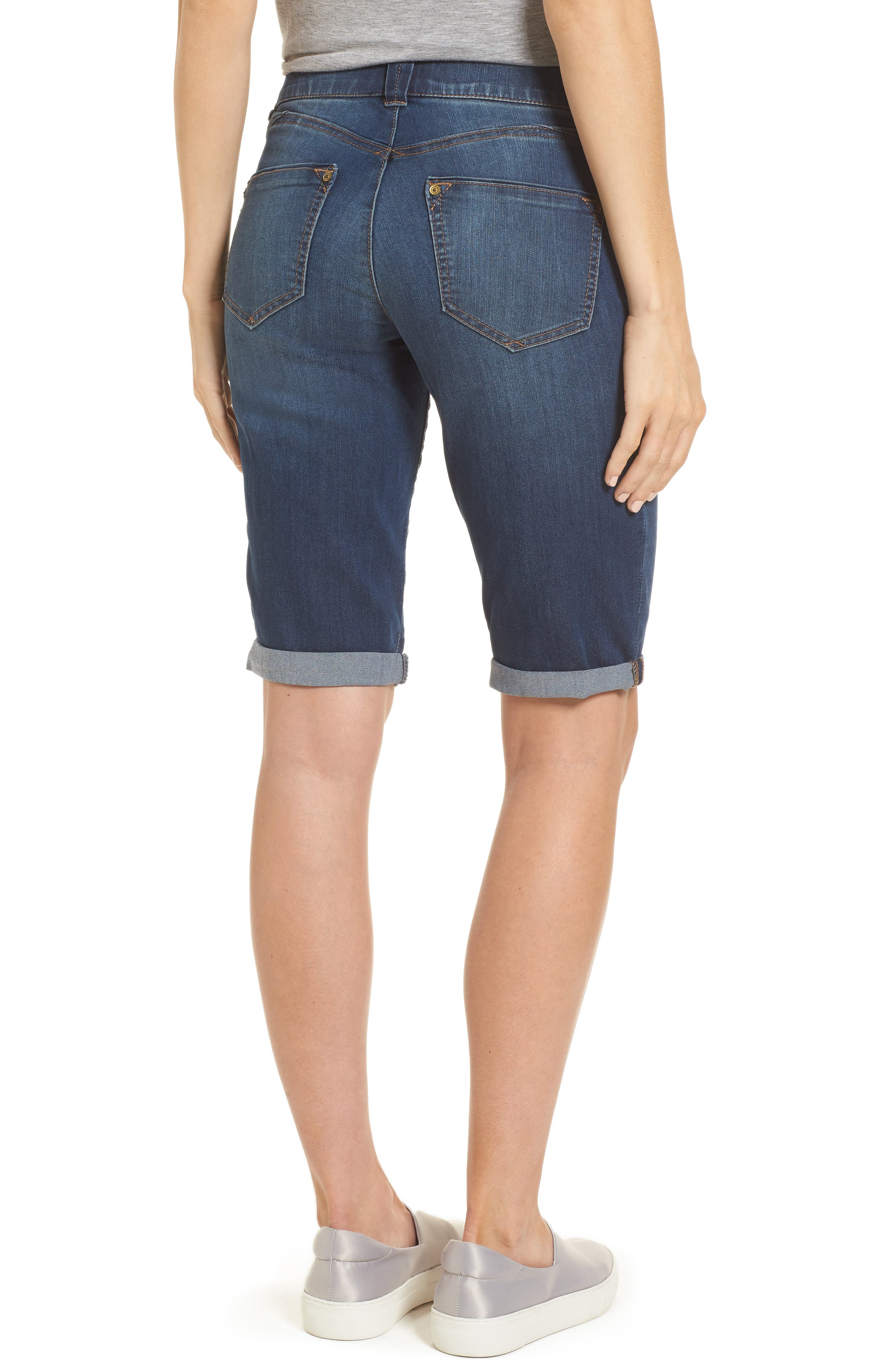 WIT & WISDOM, Ab-solution Cuffed Denim Shorts, Alternate thumbnail 2, color, BLUE