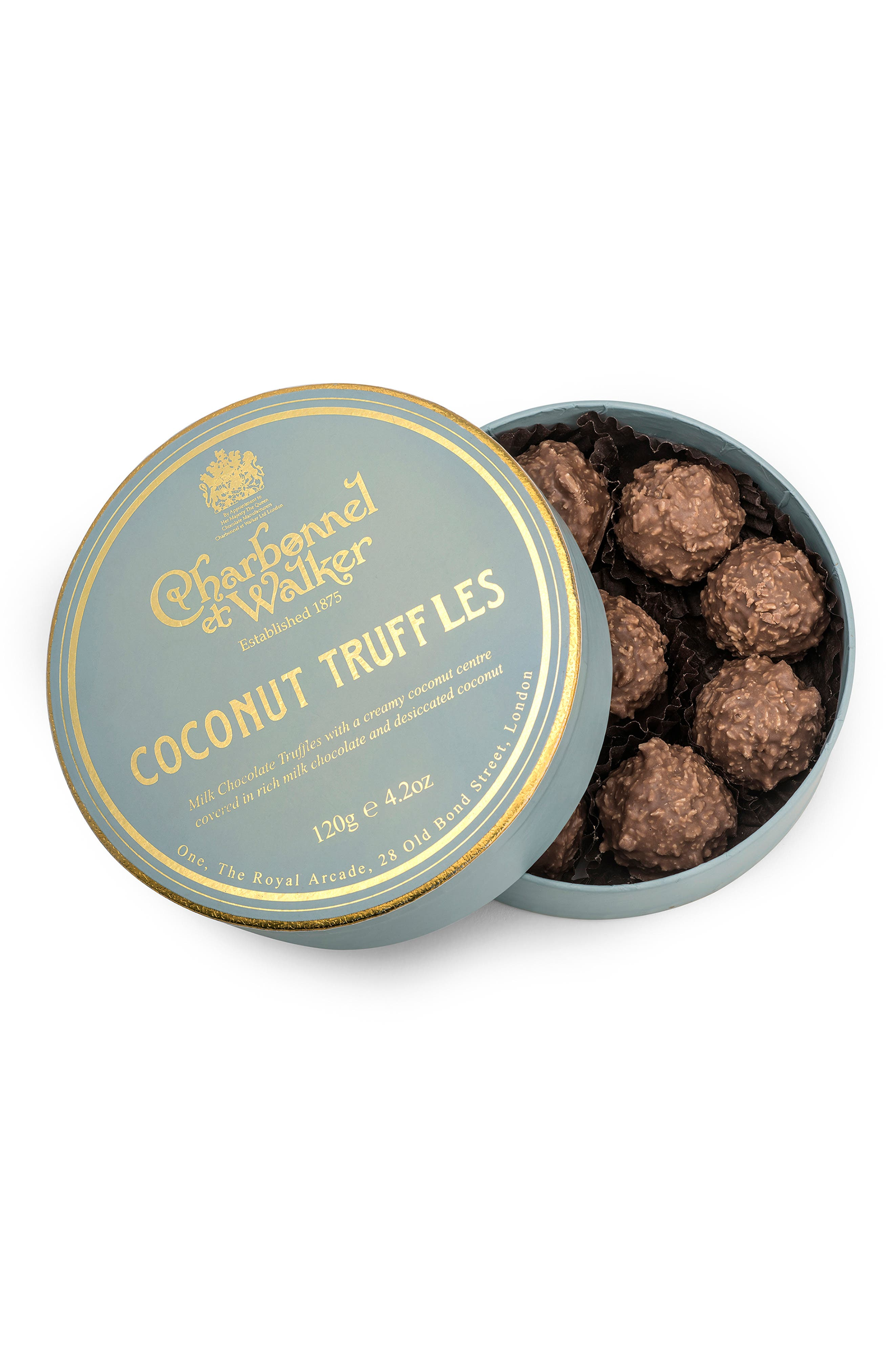 CHARBONNEL ET WALKER, Flavored Chocolate Truffles in Gift Box, Main thumbnail 1, color, COCONUT