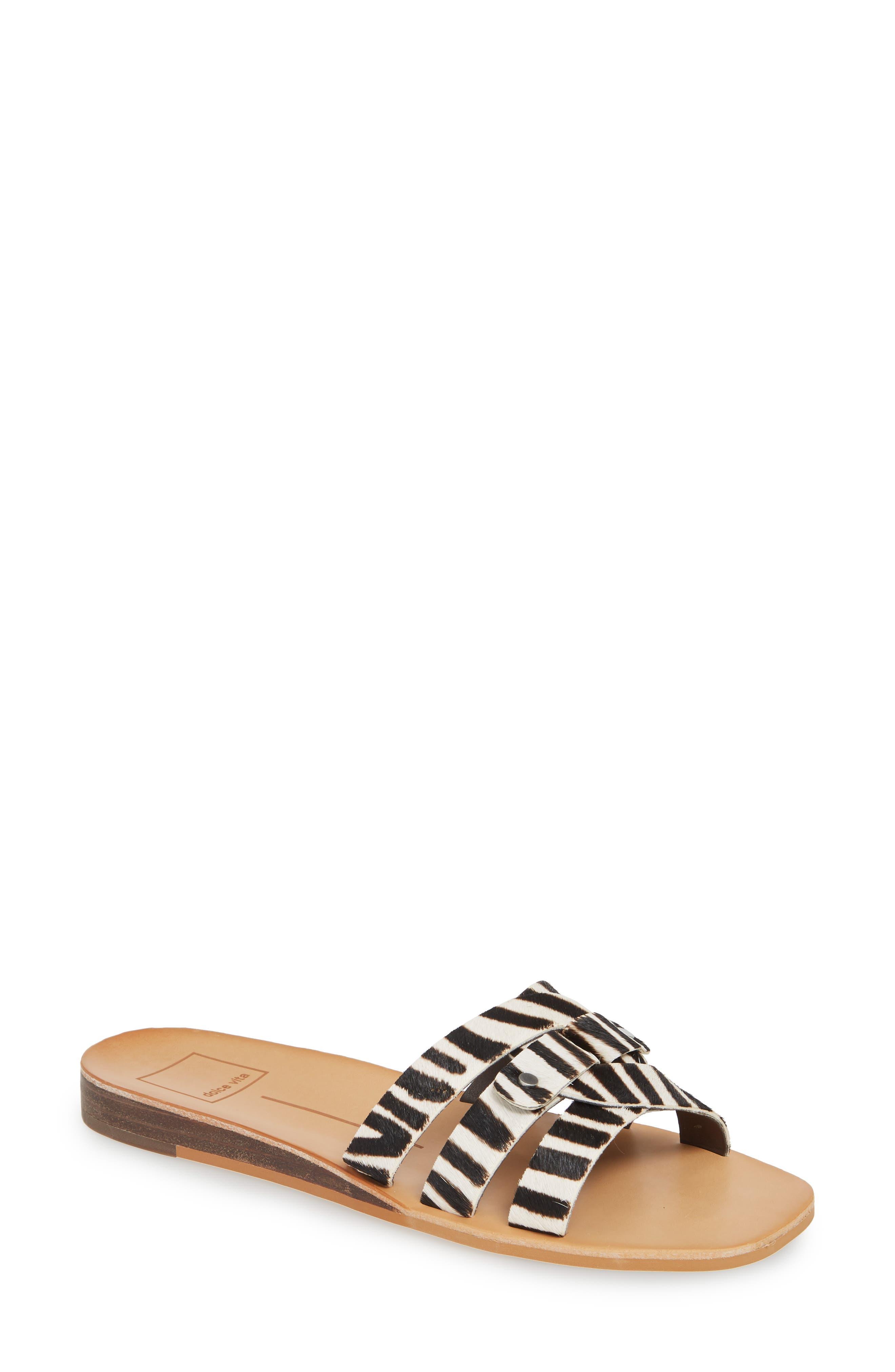 DOLCE VITA, Cait Genuine Calf Hair Slide Sandal, Main thumbnail 1, color, ZEBRA PRINT