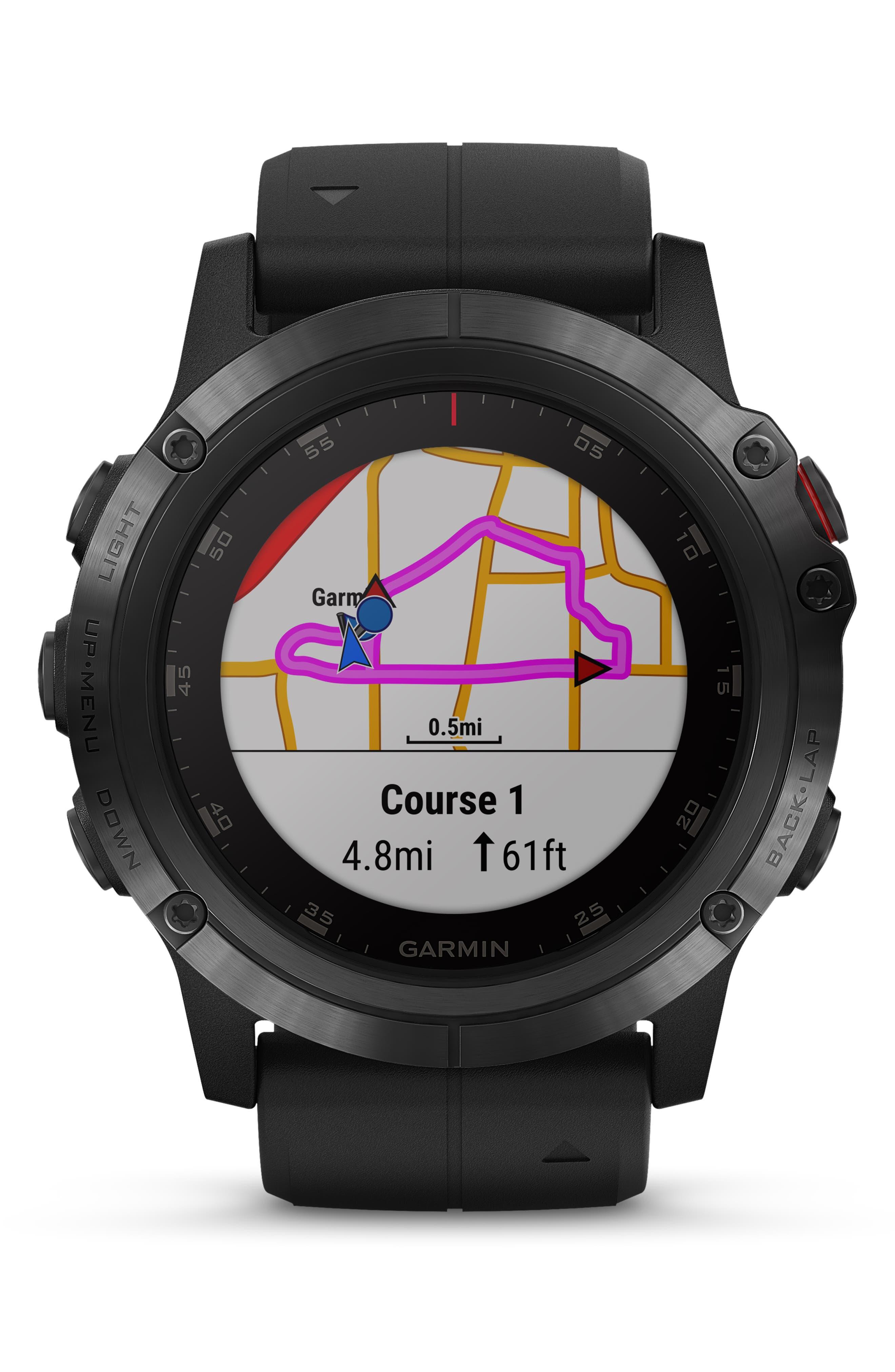 GARMIN, fenix<sup>®</sup> 5S Sapphire Premium Multisport GPS Watch, 51mm, Alternate thumbnail 8, color, BLACK