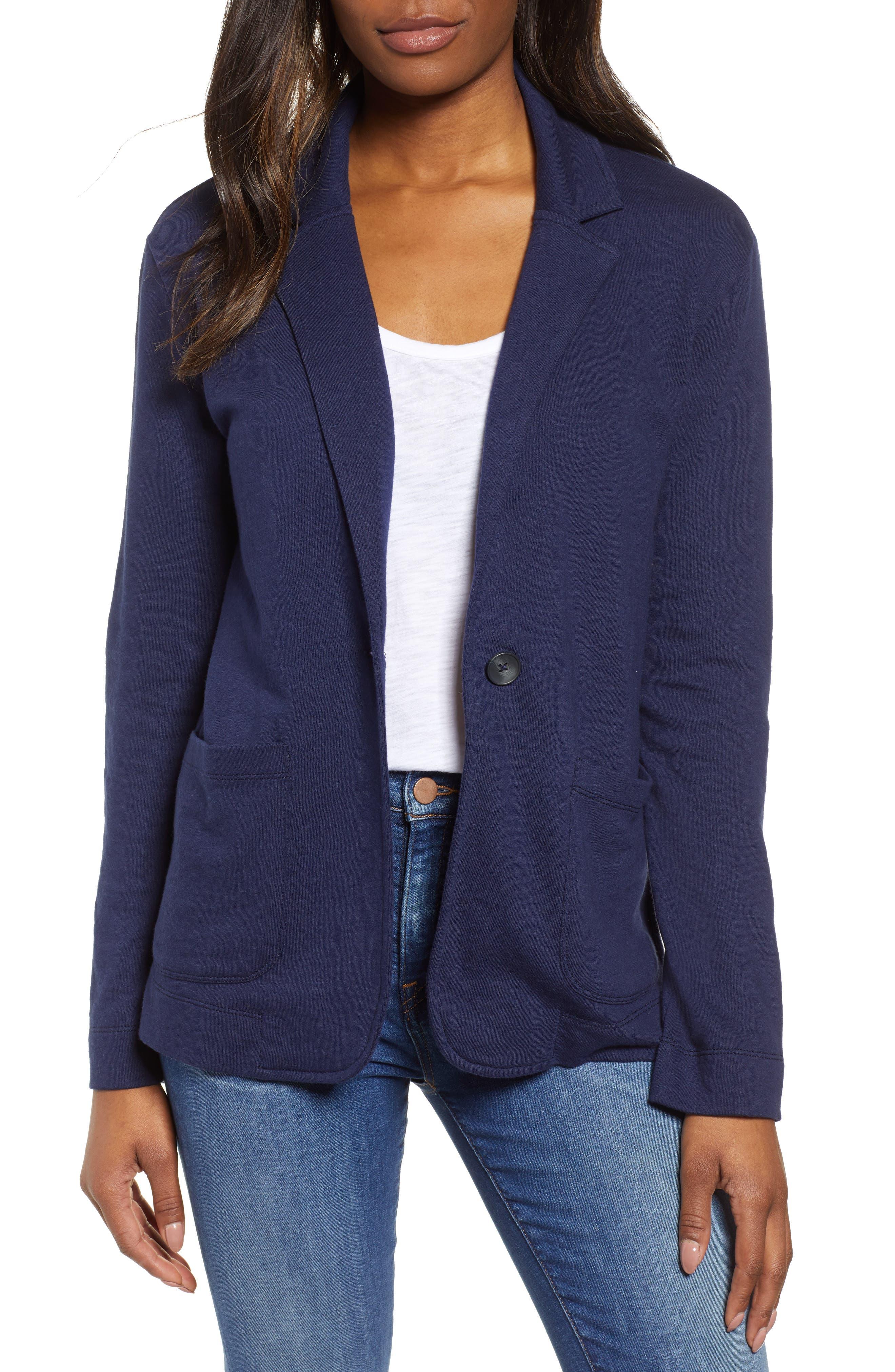 CASLON<SUP>®</SUP>, Two Pocket Knit Blazer, Main thumbnail 1, color, NAVY PEACOAT