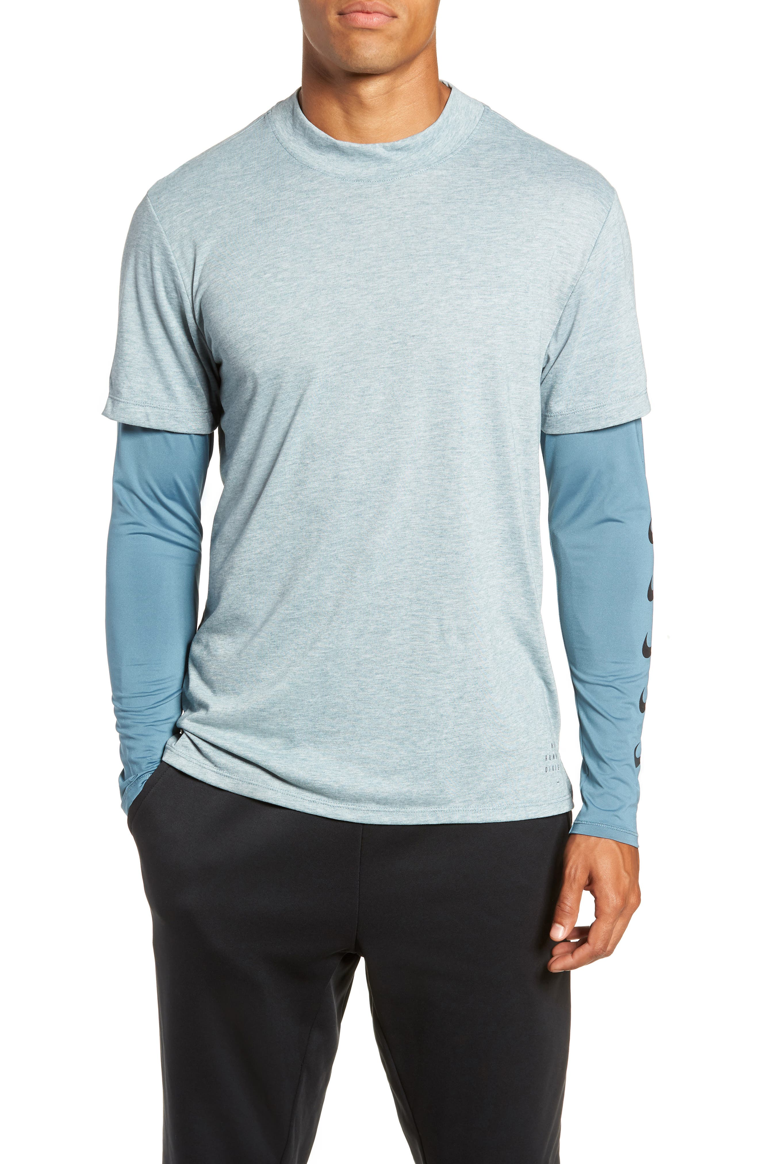 Nike Breathe Rise 365 Layered Long Sleeve T-Shirt Blue/green