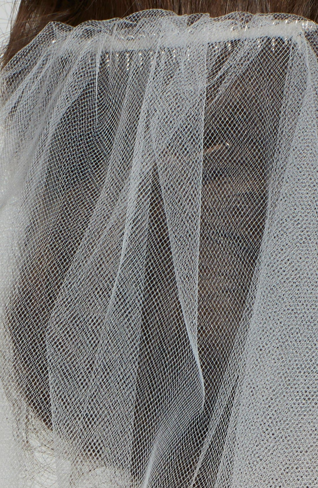 WEDDING BELLES NEW YORK, Two-Tier Cathedral Veil, Alternate thumbnail 3, color, WHITE