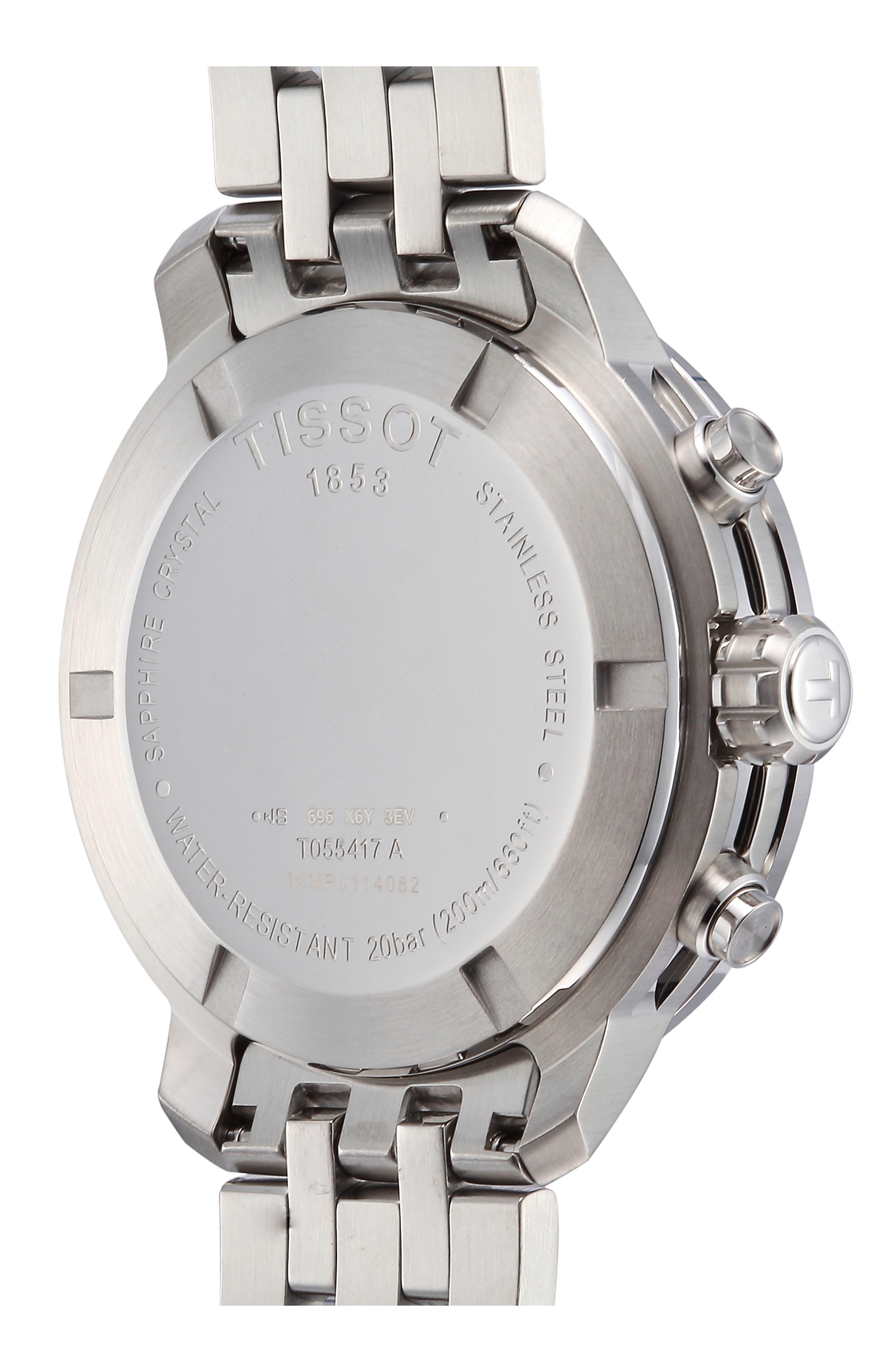 TISSOT, PRC200 Chronograph Bracelet Watch, 42mm, Alternate thumbnail 2, color, SILVER/ BLACK/ SILVER