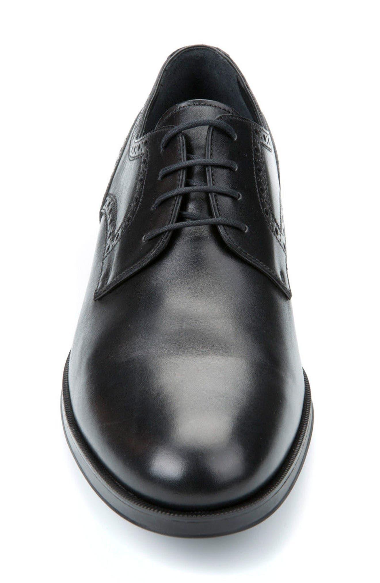 GEOX, Hilstone 3 Plain Toe Derby, Alternate thumbnail 4, color, BLACK LEATHER