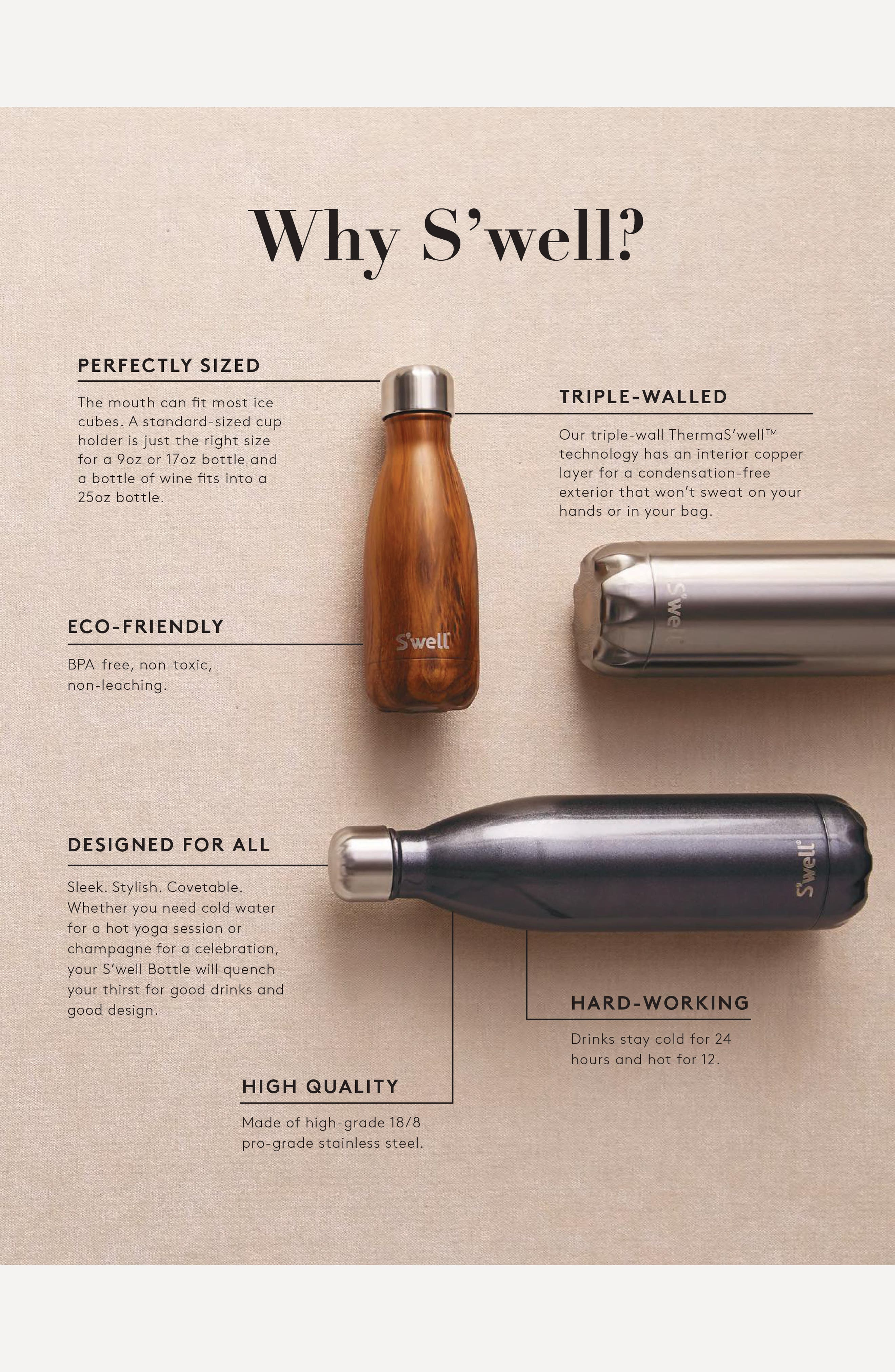 S'WELL, 'Silver Lining' Stainless Steel Water Bottle, Alternate thumbnail 8, color, SILVER