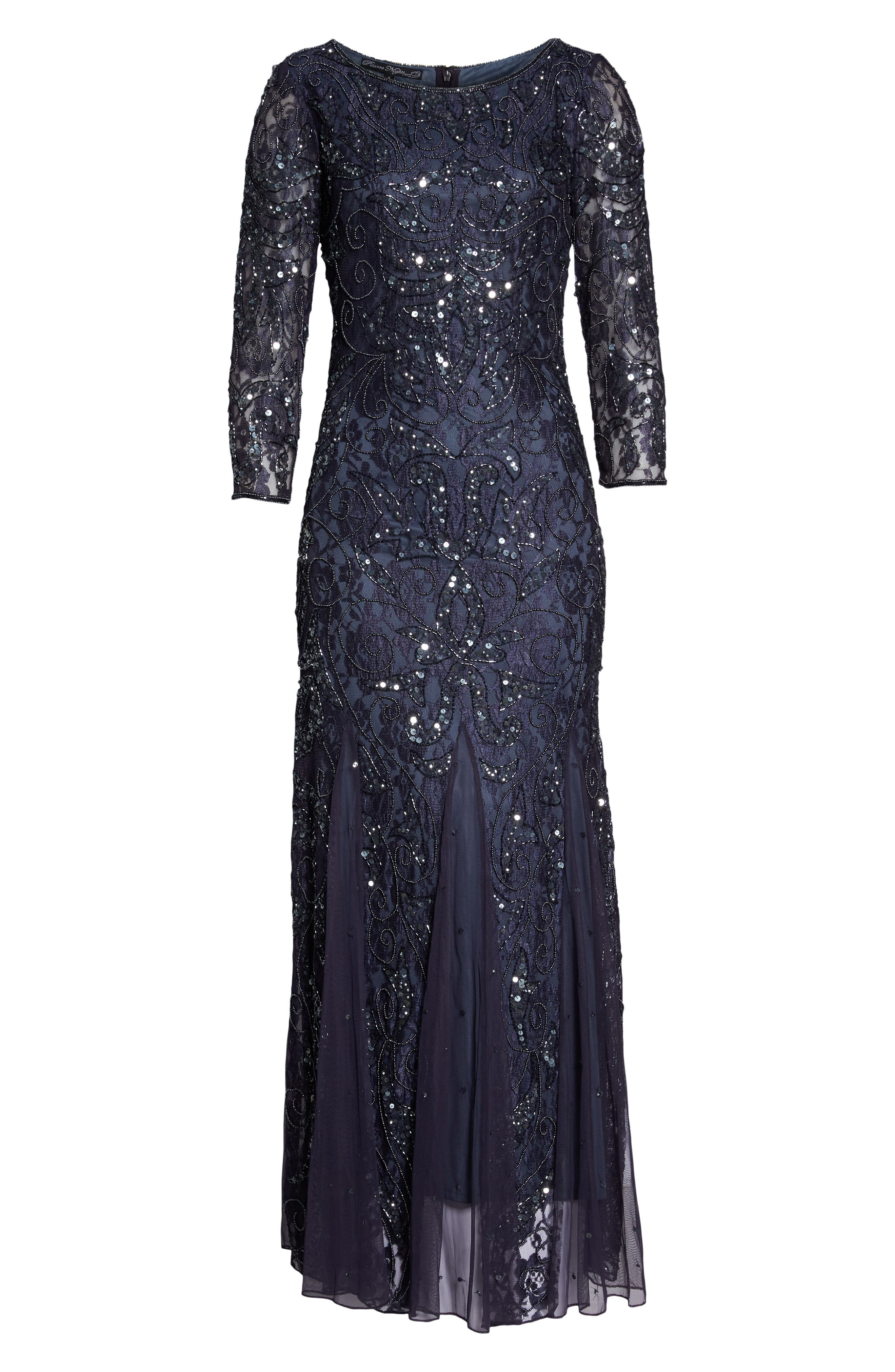 PISARRO NIGHTS, Beaded Lace Gown, Alternate thumbnail 7, color, 020