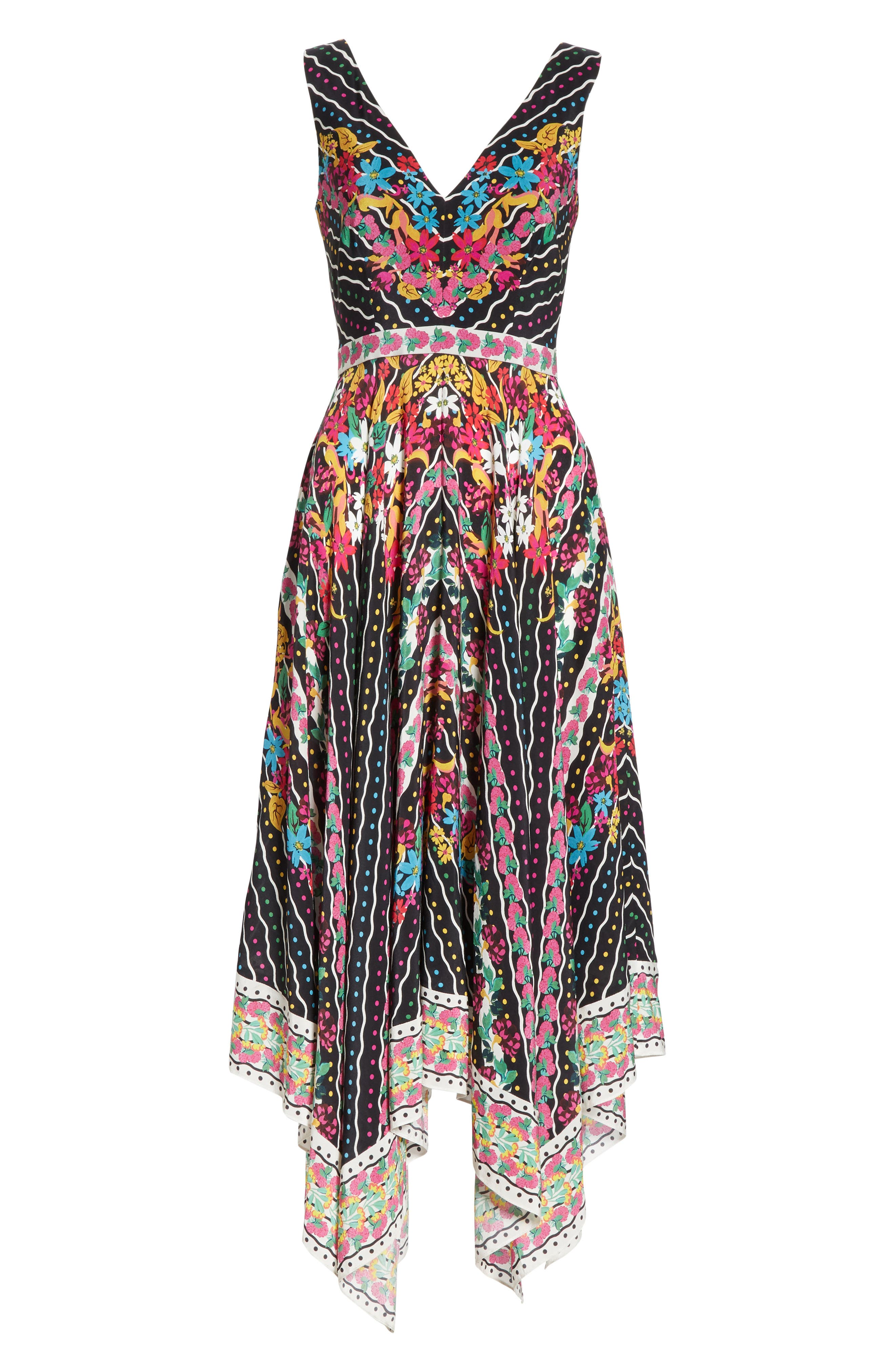 SALONI, Zuri Floral Print Dress, Alternate thumbnail 6, color, 001
