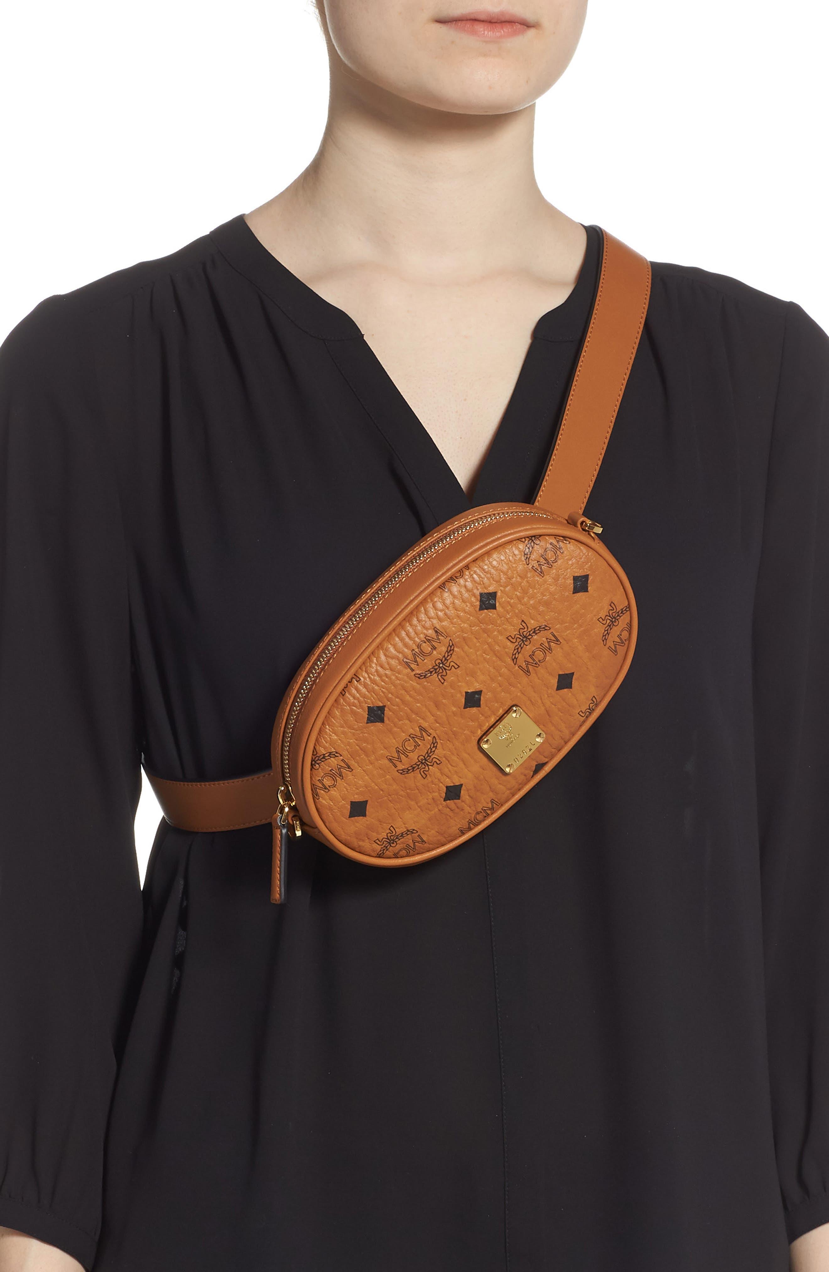 MCM, Essential Convertible Belt Bag, Alternate thumbnail 3, color, COGNAC