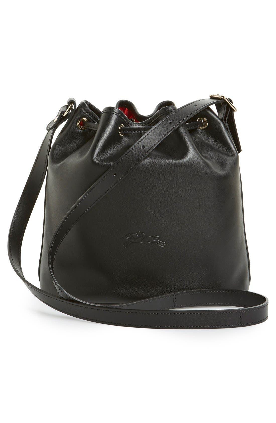 LONGCHAMP, 'Small 2.0' Leather Bucket Bag, Alternate thumbnail 5, color, 001