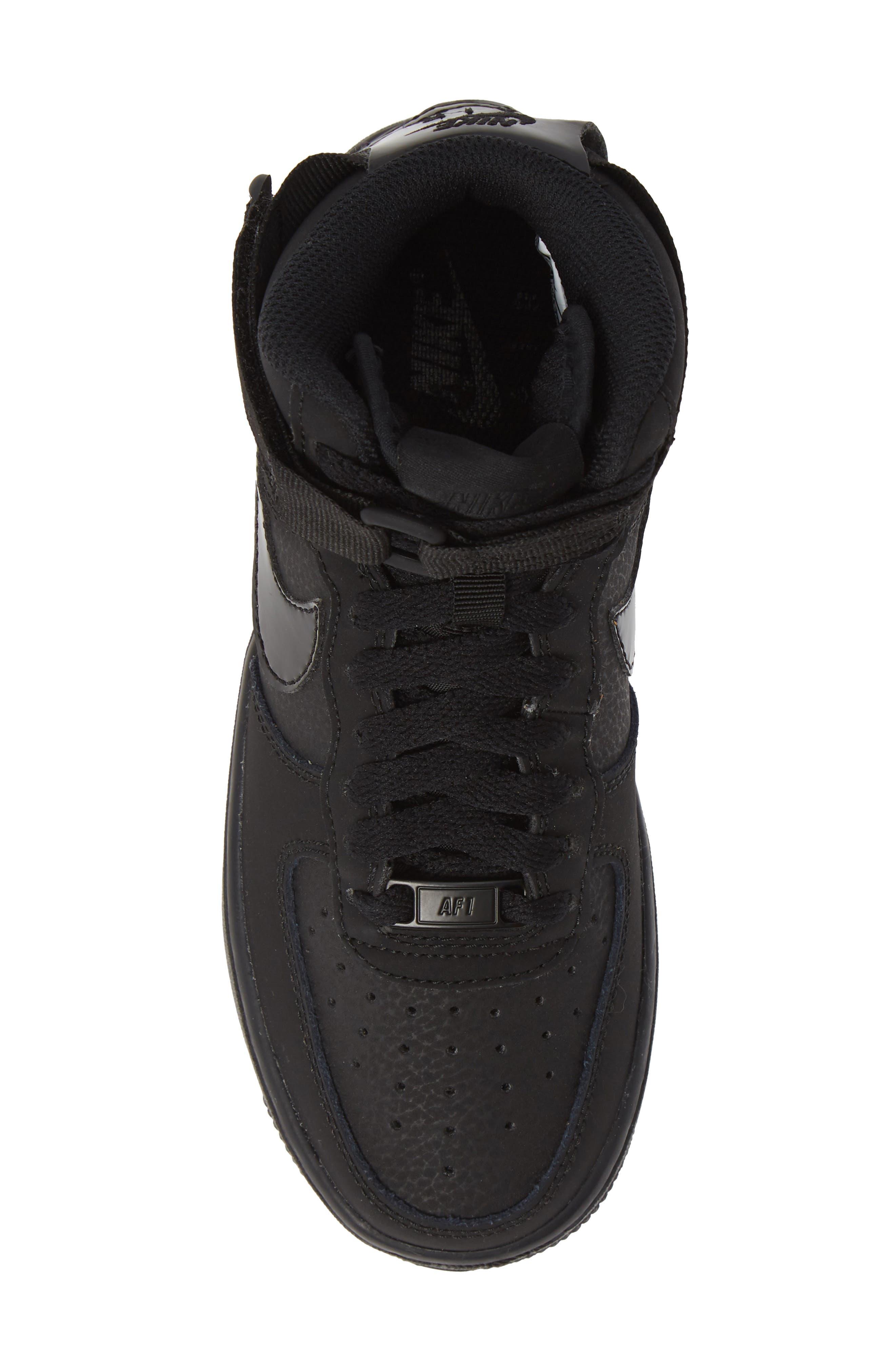 NIKE, Air Force 1 High Top Sneaker, Alternate thumbnail 5, color, 001