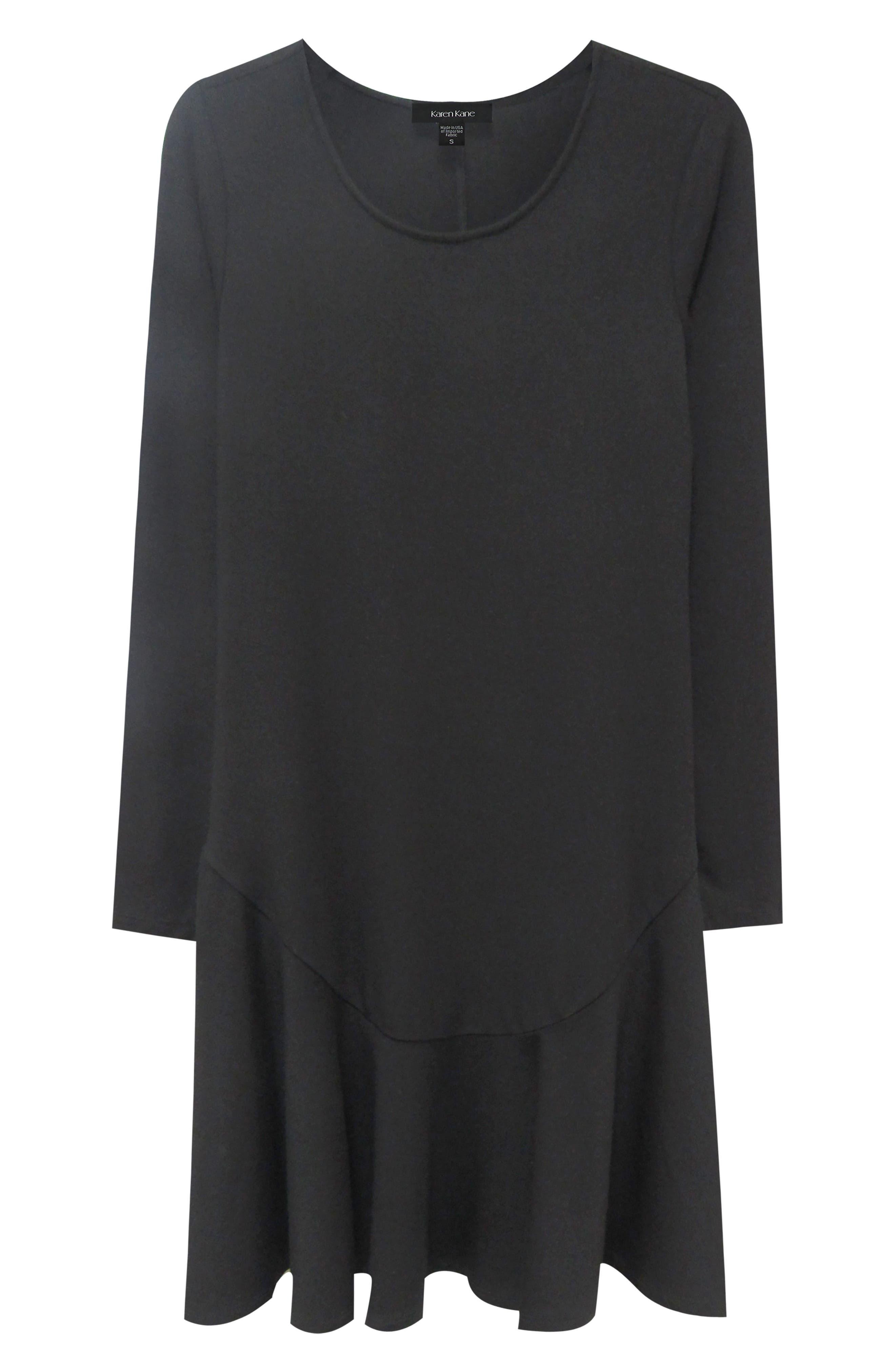 KAREN KANE, Dakota Ruffle Hem A-Line Dress, Alternate thumbnail 3, color, BLACK