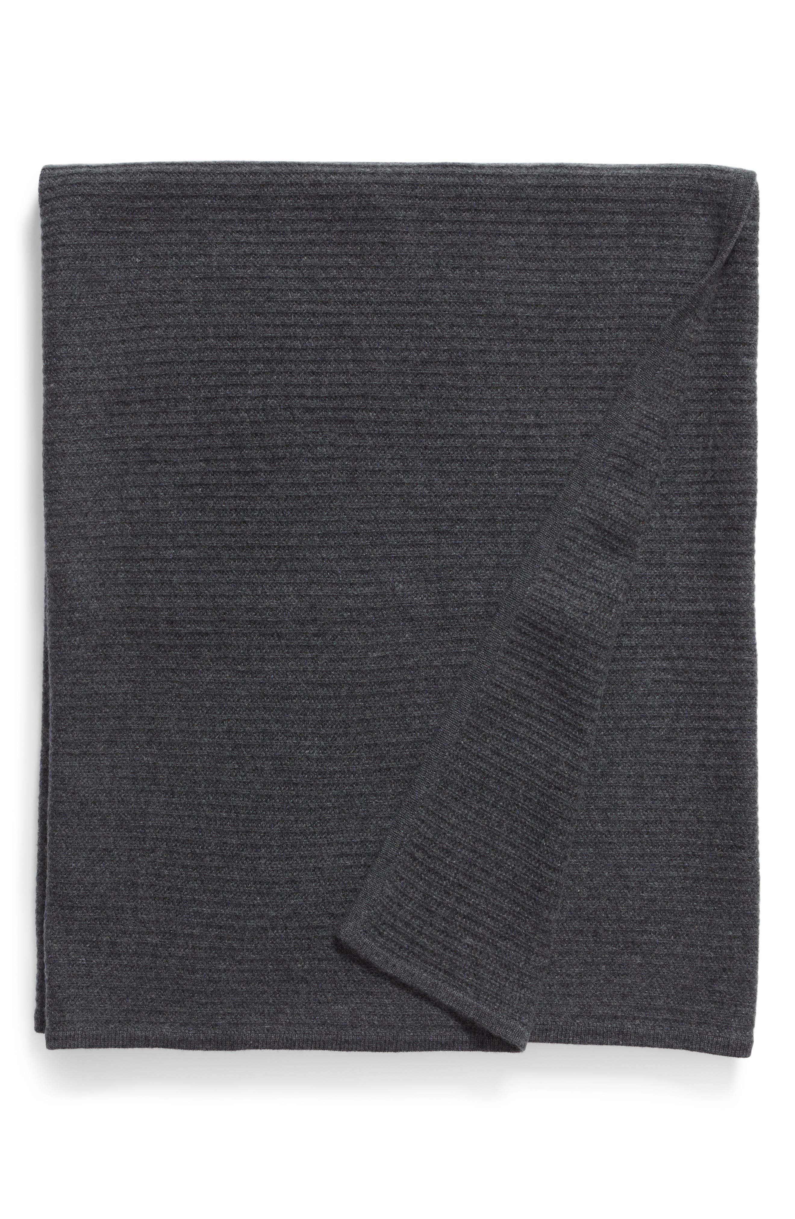 NORDSTROM SIGNATURE, Ribbed Cashmere Throw, Main thumbnail 1, color, CHARCOAL HEATHER