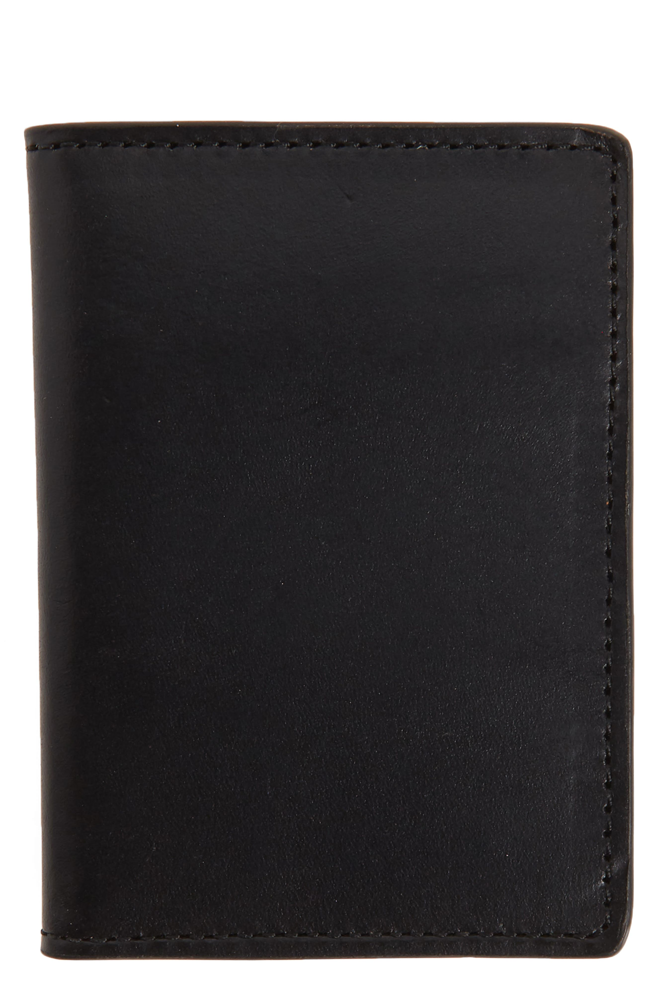 NORDSTROM MEN'S SHOP, Darien Leather Bifold Card Case, Main thumbnail 1, color, BLACK