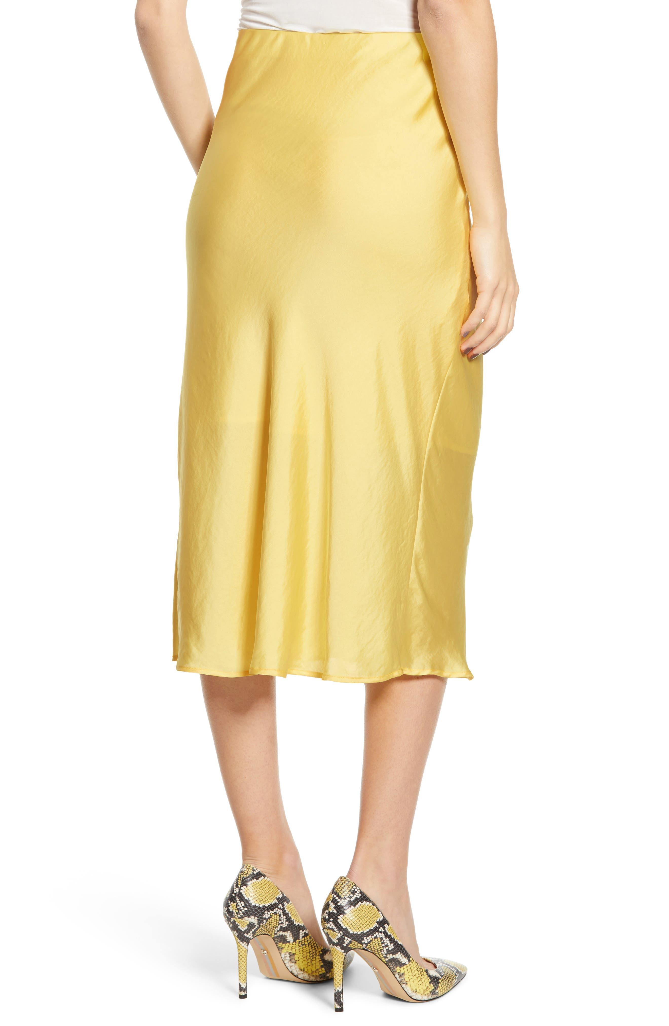 LEITH, Satin Midi Skirt, Alternate thumbnail 2, color, YELLOW MERINGUE