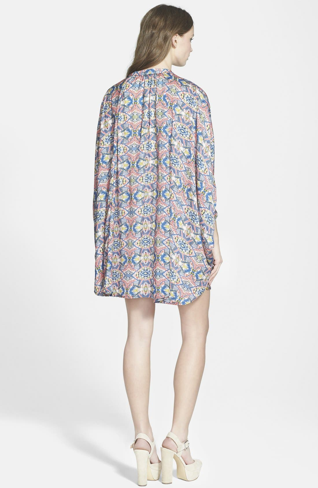 MAISIE, 'Lenore' Floral Print Kimono Dress, Alternate thumbnail 2, color, 001