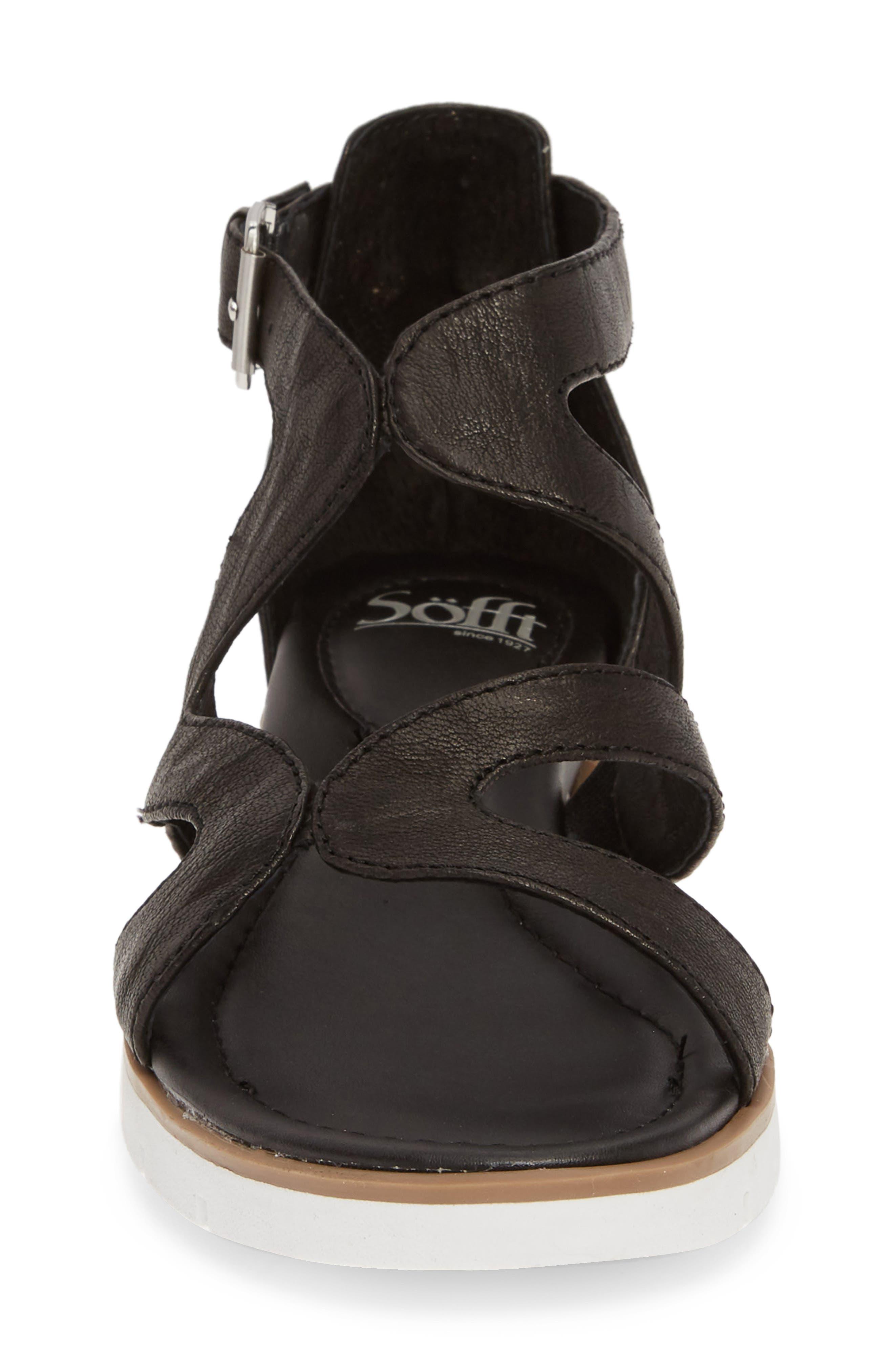 SÖFFT, 'Malana' Leather Sandal, Alternate thumbnail 4, color, BLACK LEATHER