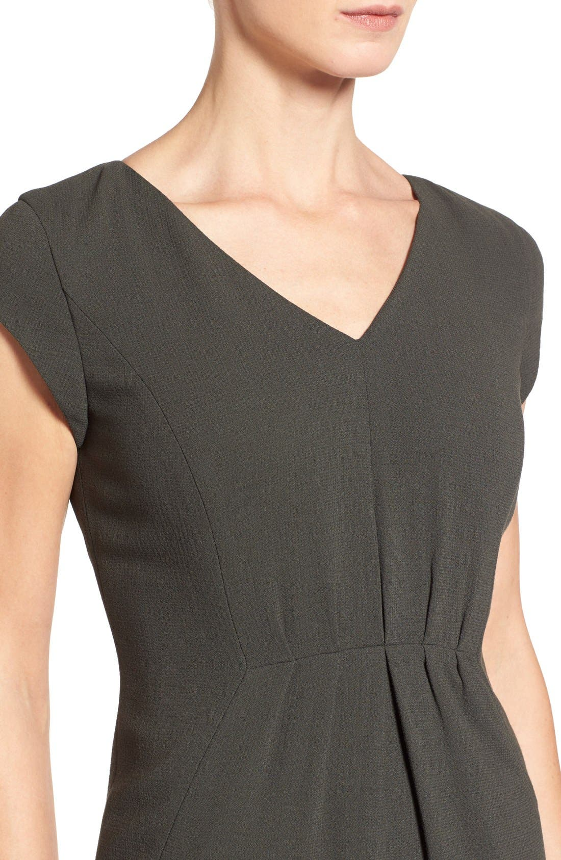 CLASSIQUES ENTIER<SUP>®</SUP>, V-Neck Double Cloth Sheath Dress, Alternate thumbnail 3, color, 301