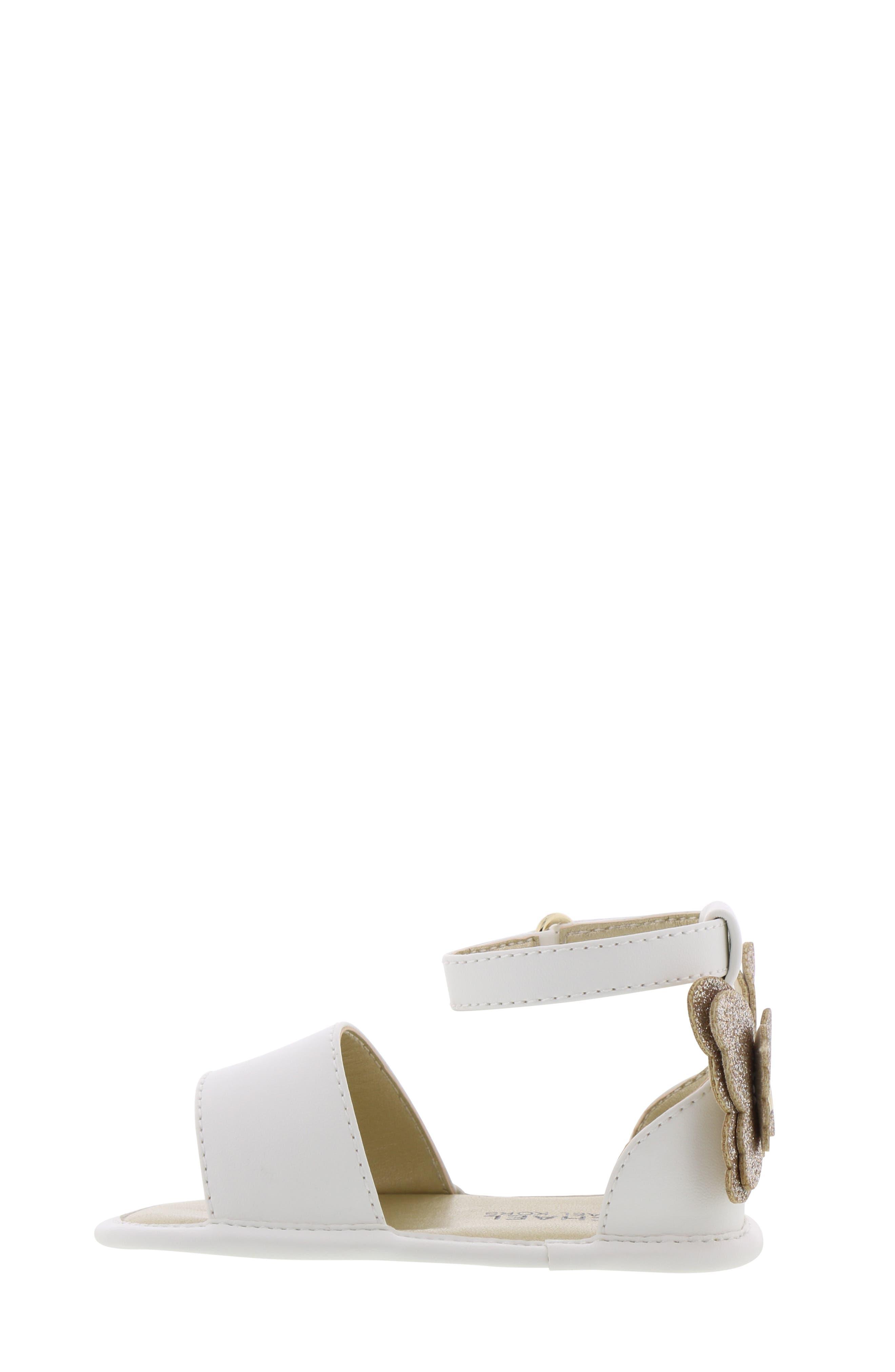 MICHAEL MICHAEL KORS, Tilly Sansa Glitter Sandal, Alternate thumbnail 8, color, WHITE
