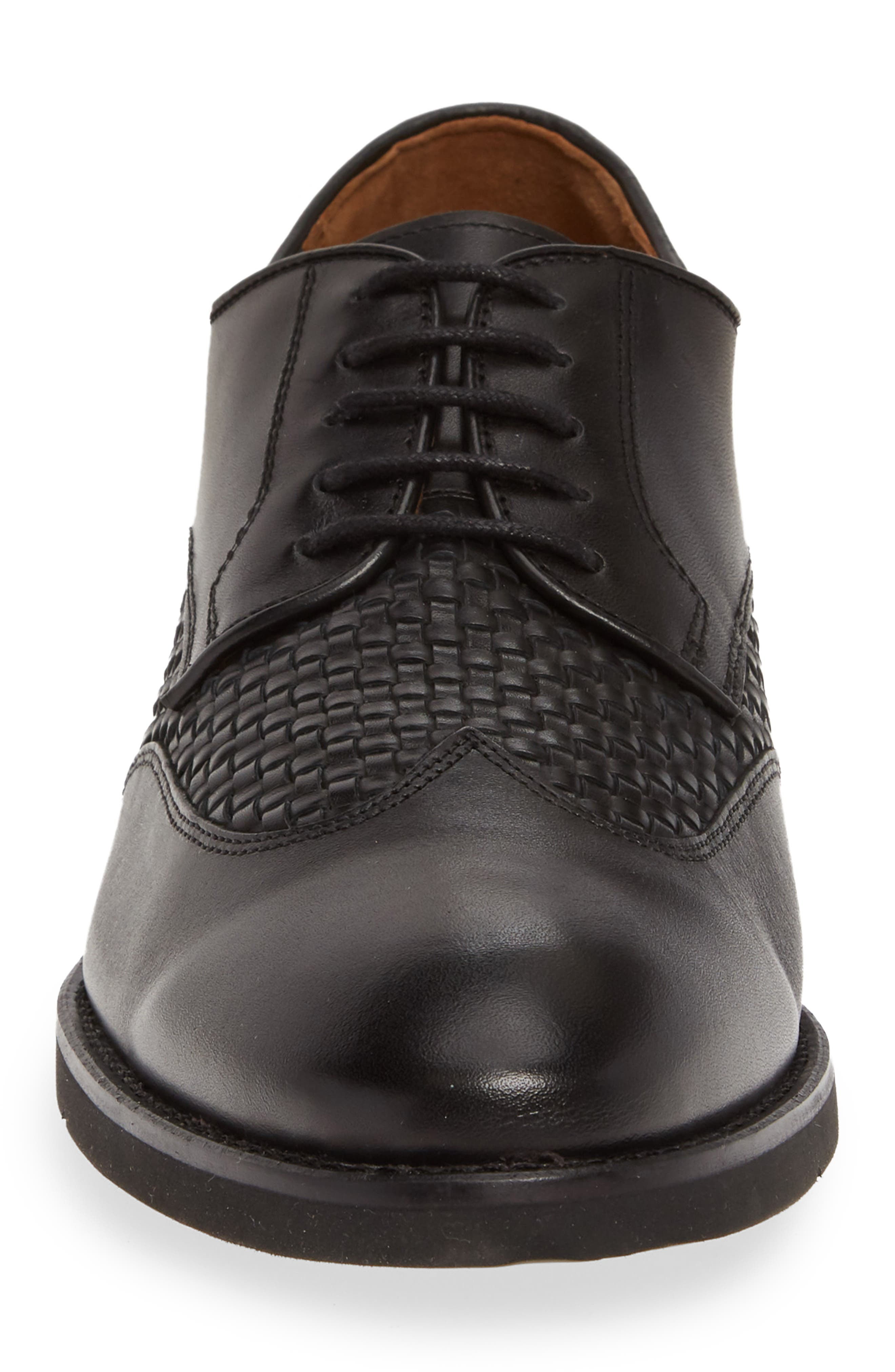 JOHNSTON & MURPHY, Carlson Woven Wingtip Derby, Alternate thumbnail 4, color, BLACK LEATHER