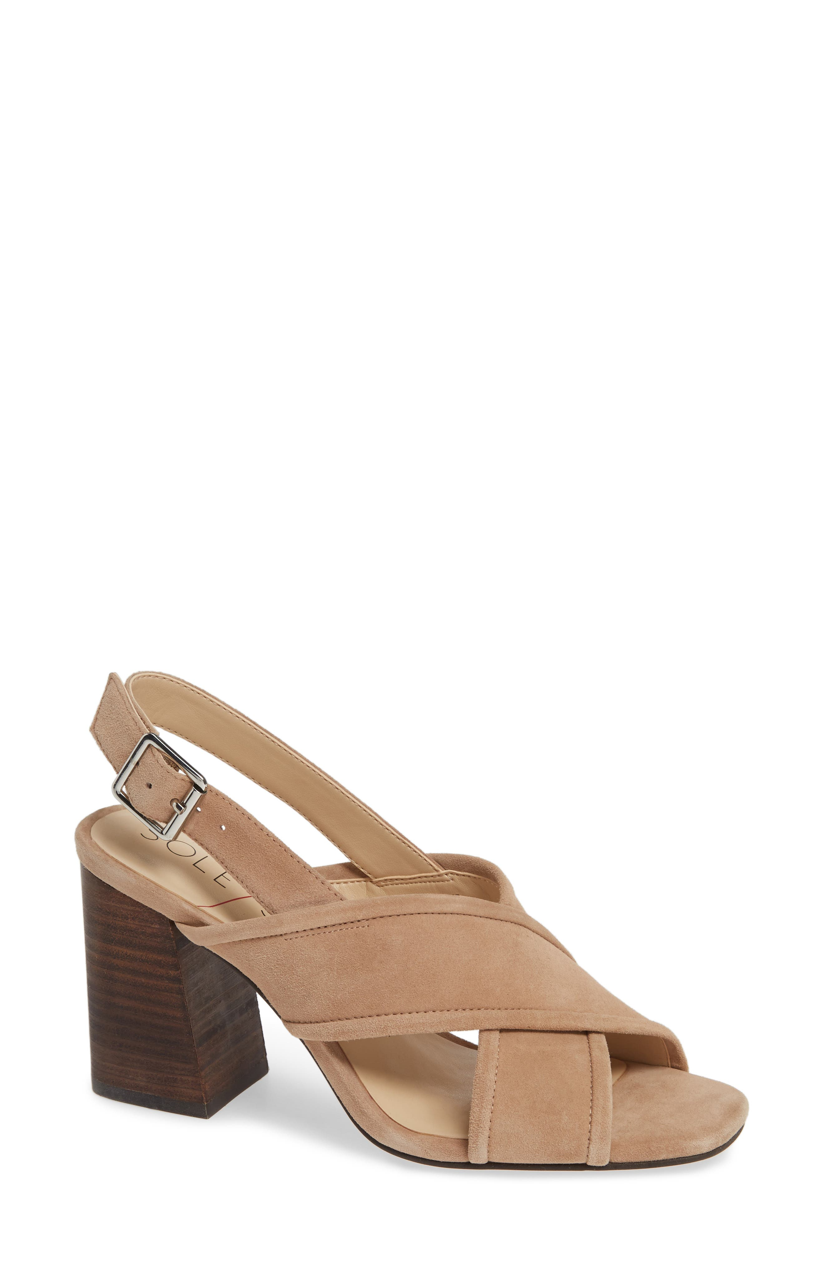 SOLE SOCIETY, Joree Slingback Sandal, Main thumbnail 1, color, DUSTED TAUPE SUEDE