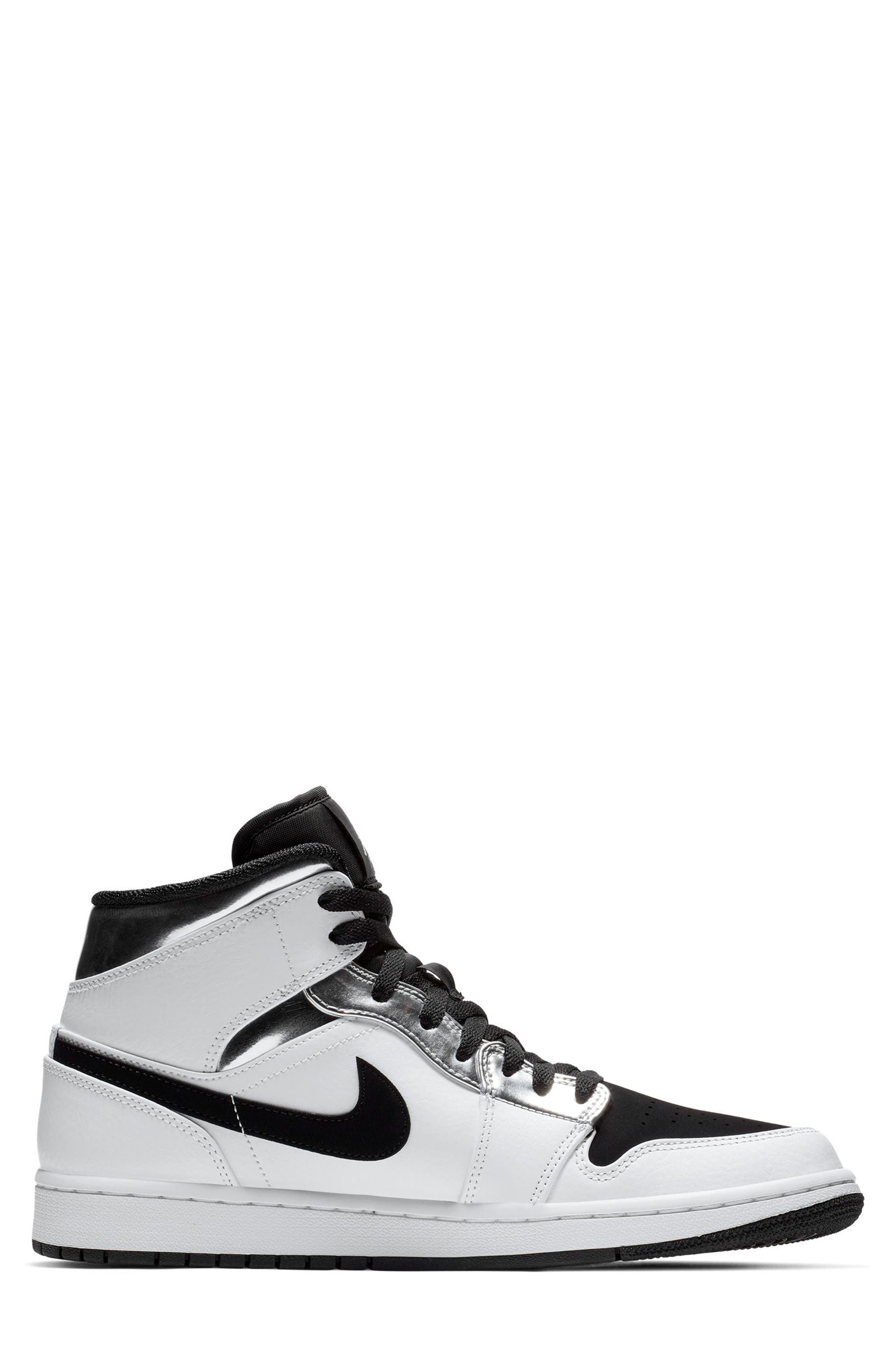 NIKE, 'Air Jordan 1 Mid' Sneaker, Alternate thumbnail 2, color, WHITE/ METALLIC SILVER/ BLACK