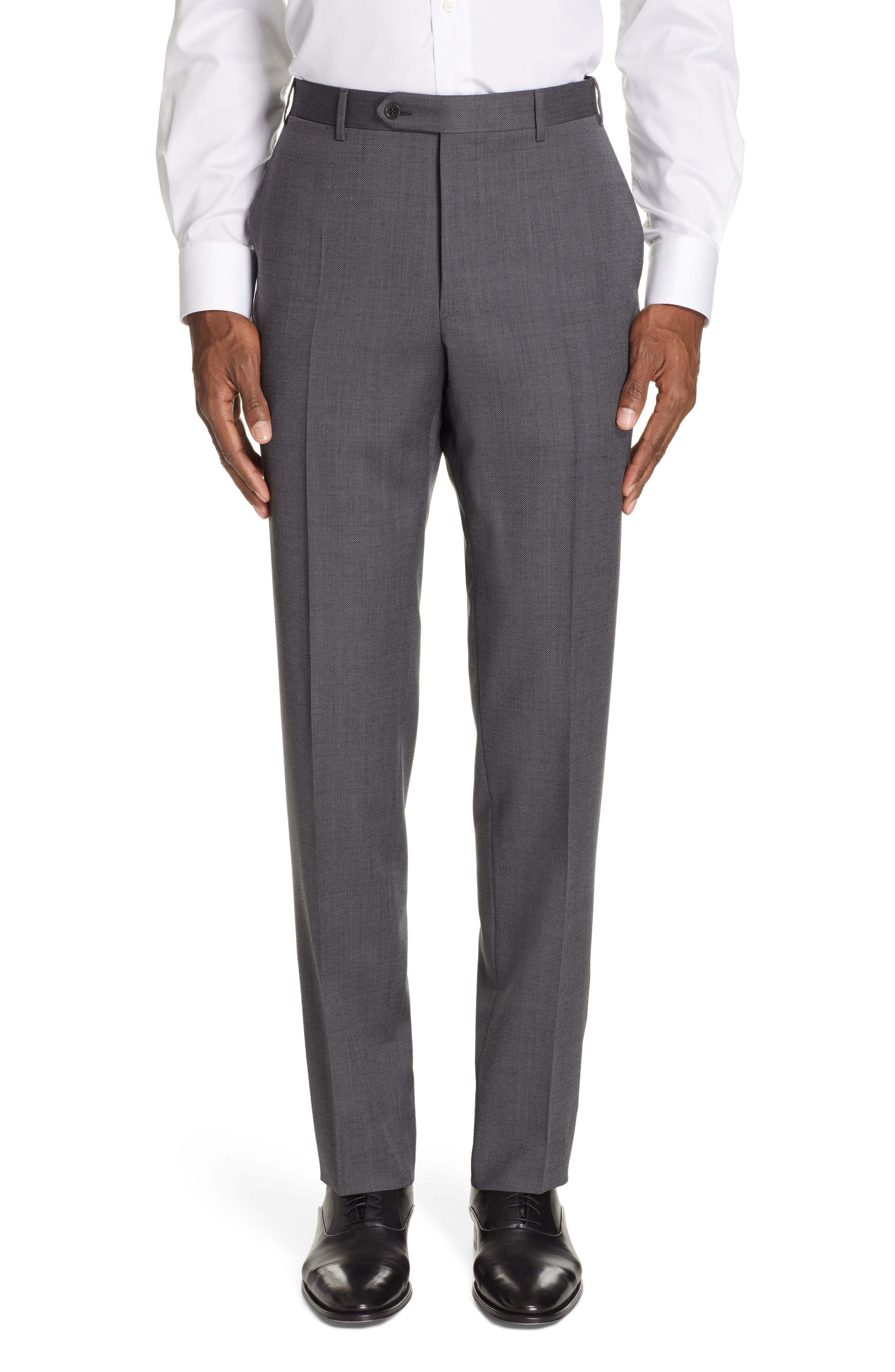 CANALI, Flat Front Solid Wool Trousers, Main thumbnail 1, color, CHARCOAL