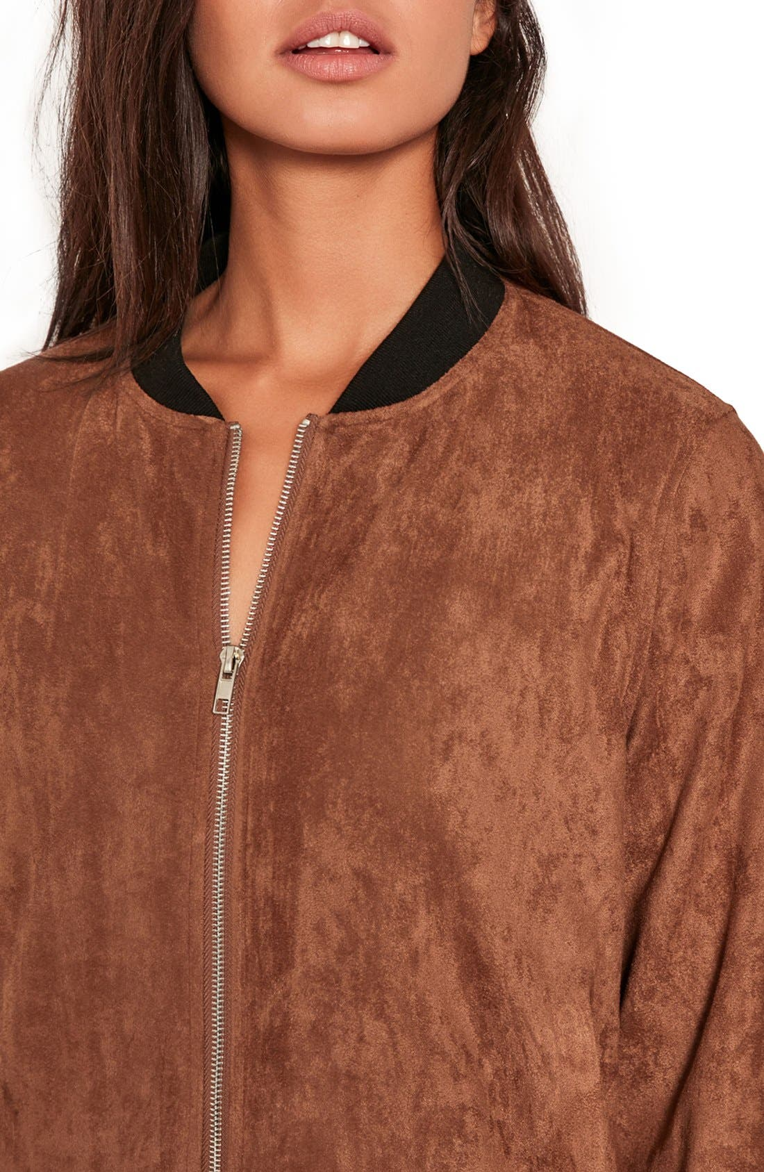 MISSGUIDED, Faux Suede Bomber Jacket, Alternate thumbnail 6, color, 808