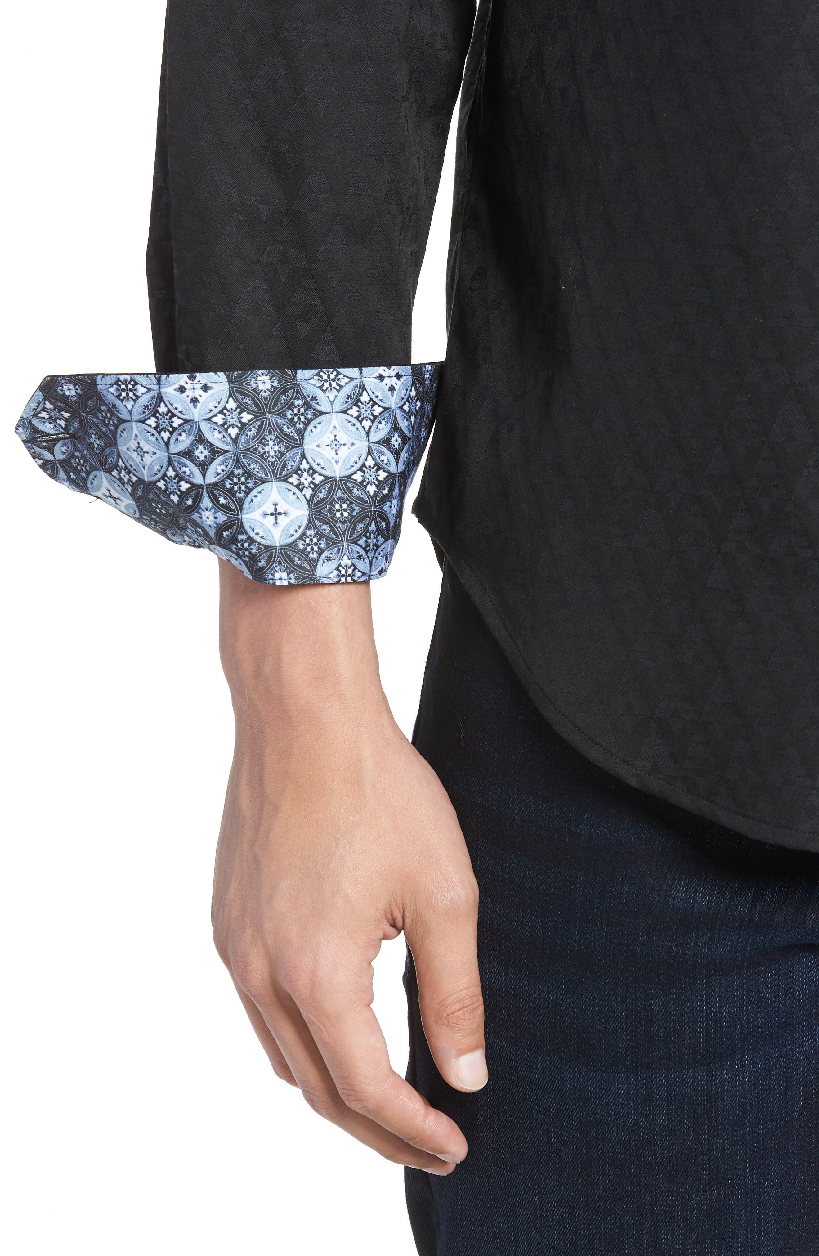 ROBERT GRAHAM, Classic Fit Stretch Geometric Sport Shirt, Alternate thumbnail 4, color, BLACK