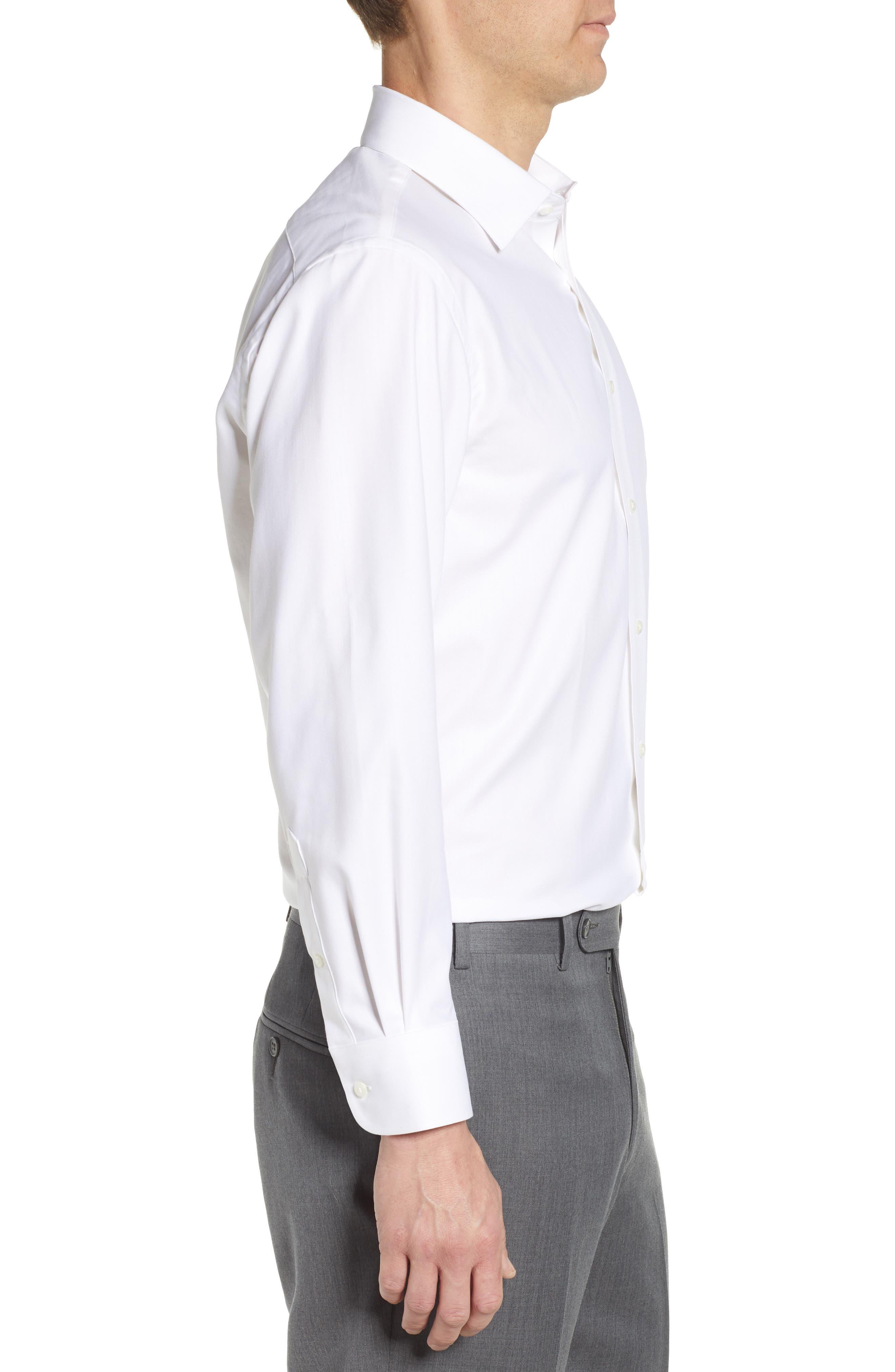 NORDSTROM MEN'S SHOP, Tech-Smart Traditional Fit Stretch Herringbone Dress Shirt, Alternate thumbnail 4, color, WHITE