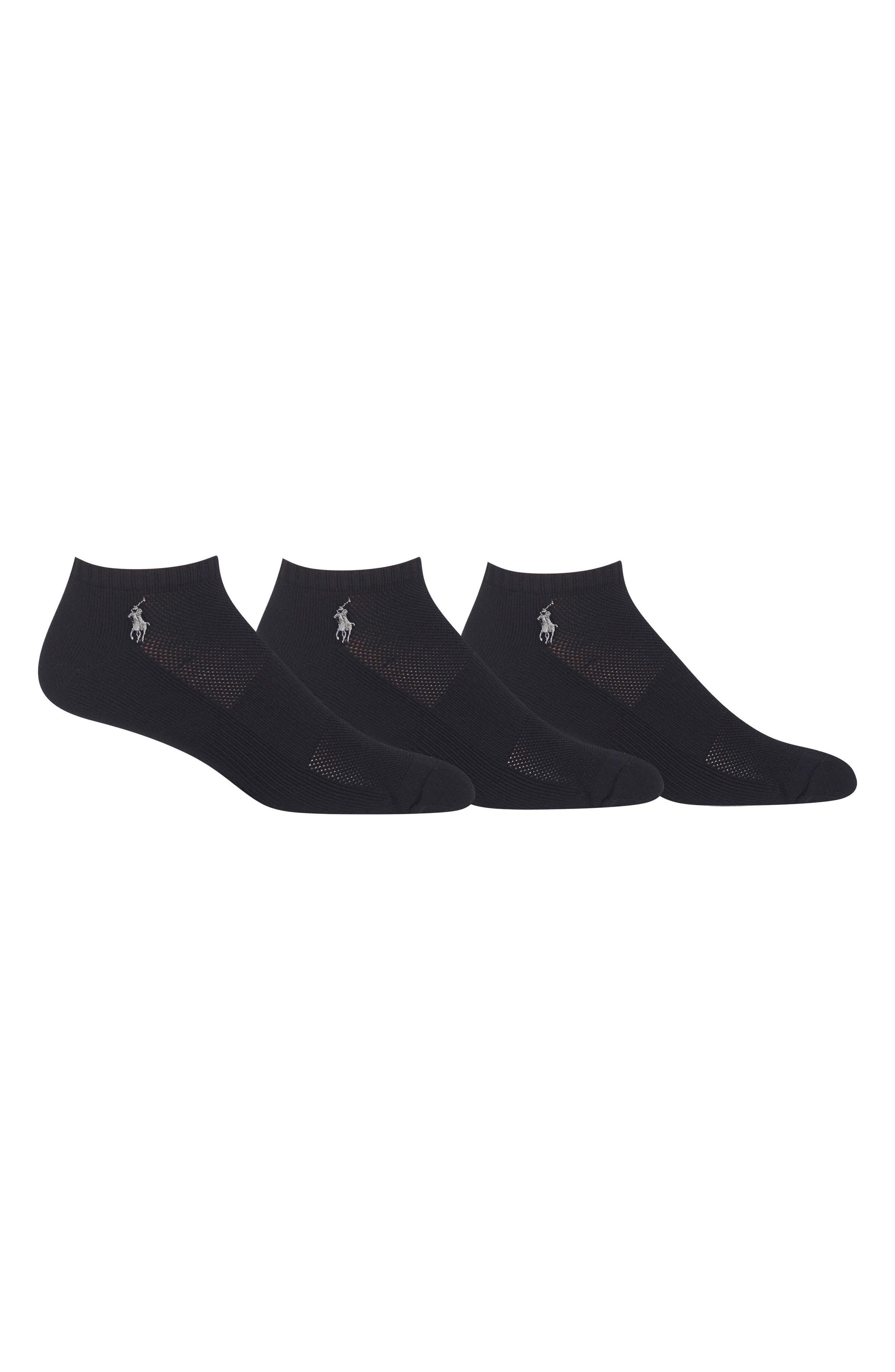 POLO RALPH LAUREN, 3-Pack Technical Sport Socks, Alternate thumbnail 2, color, BLACK
