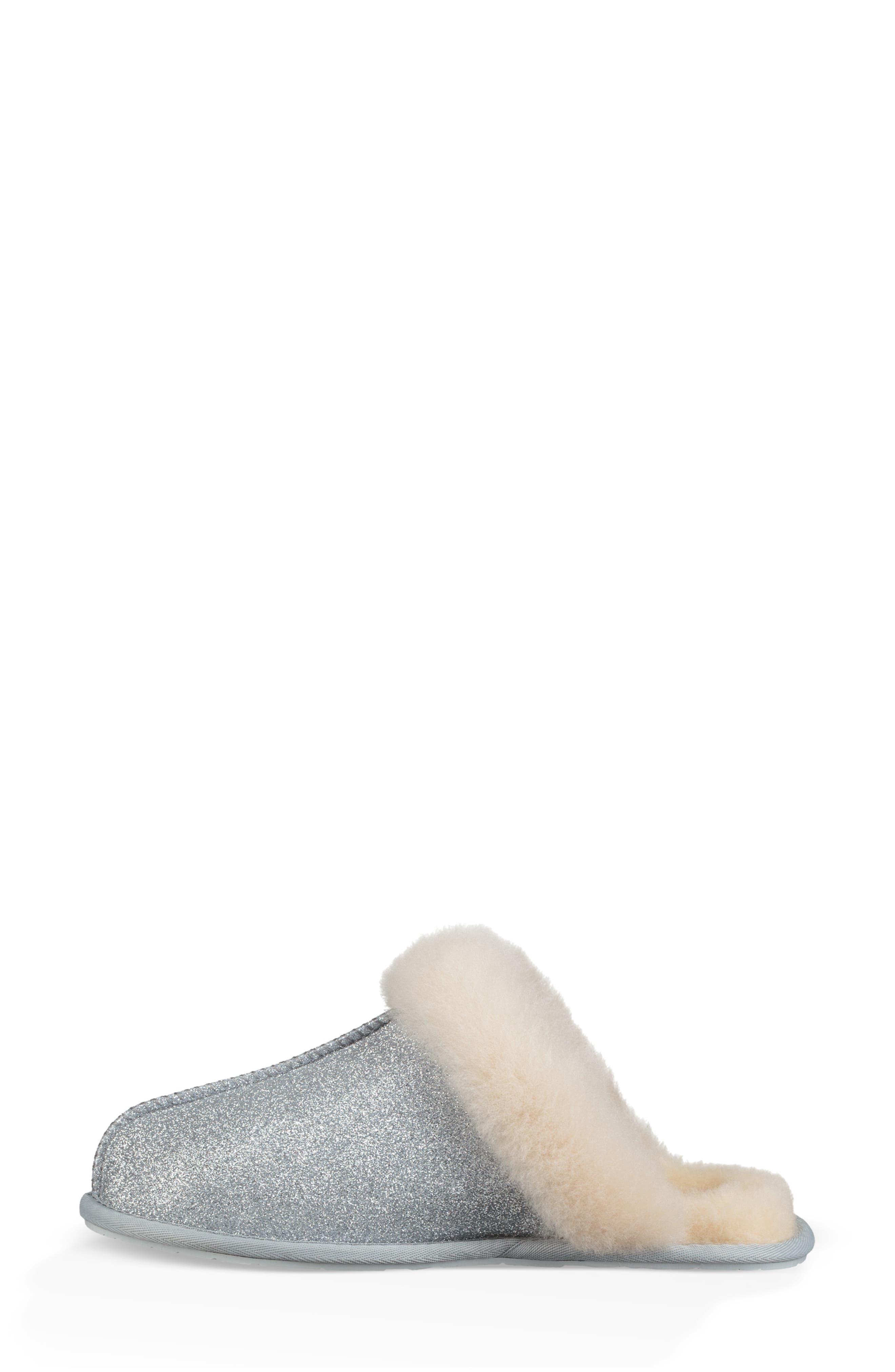 UGG<SUP>®</SUP>, Scuffette II Sparkle Genuine Shearling Slipper, Alternate thumbnail 6, color, SILVER