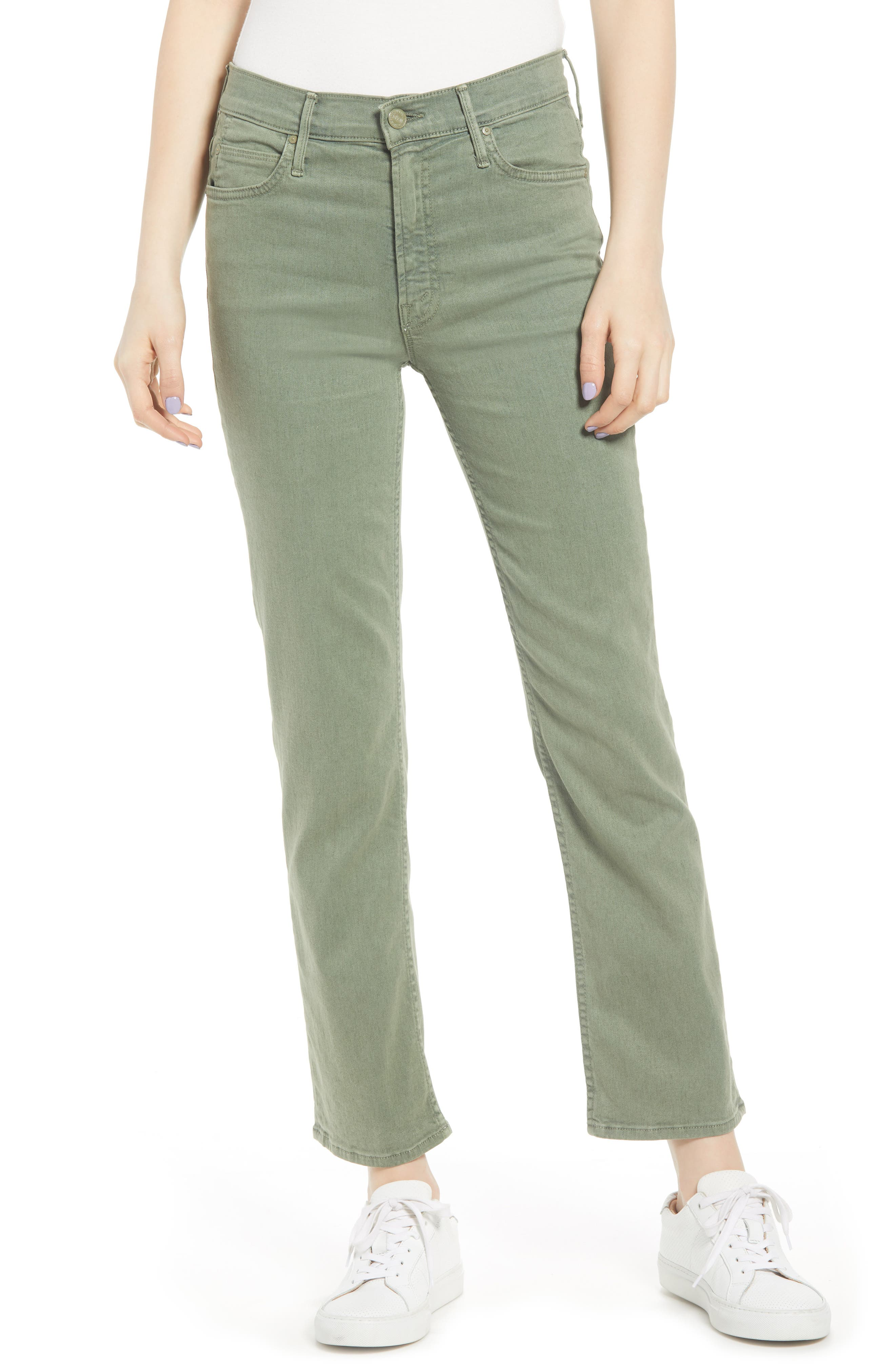 MOTHER, The Dutchie Super High Waist Ankle Straight Leg Jeans, Main thumbnail 1, color, ARMY GREEN