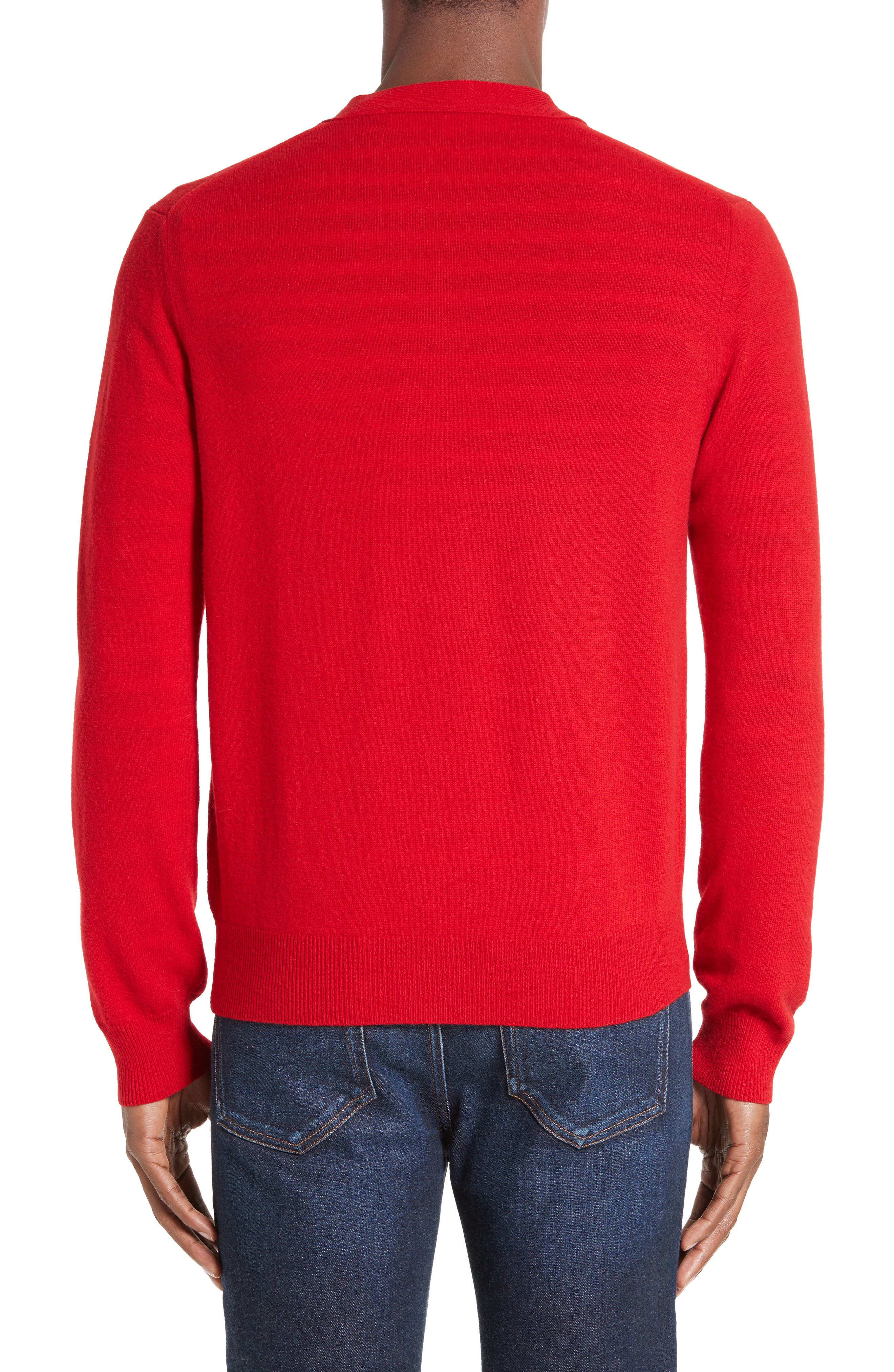 COMME DES GARÇONS PLAY, Wool Cardigan, Alternate thumbnail 2, color, RED
