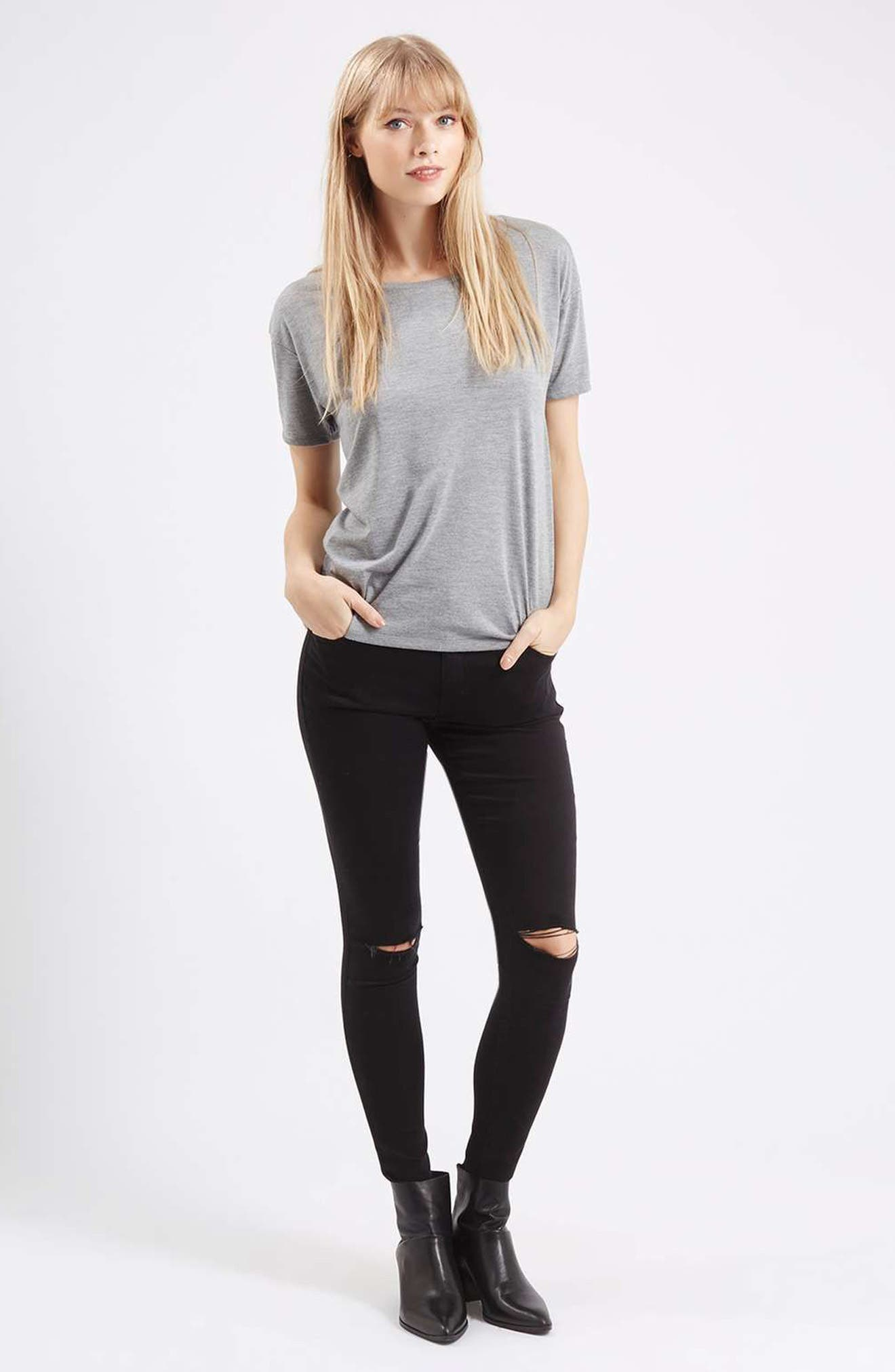 TOPSHOP, Moto Leigh Ripped Skinny Jeans, Alternate thumbnail 5, color, 001