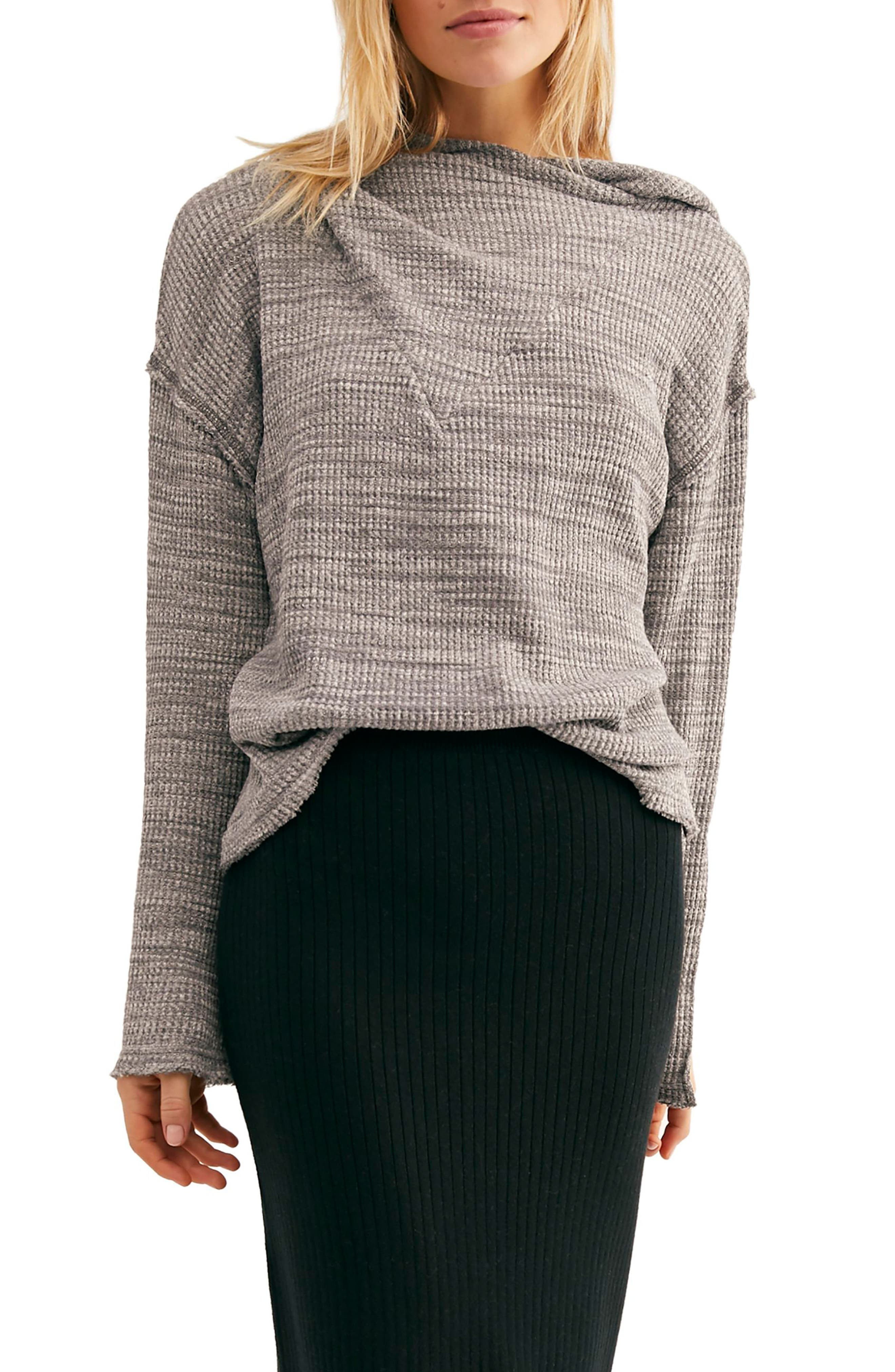 FREE PEOPLE, Endless Summer by Free People Hooded Knit Top, Main thumbnail 1, color, GREY