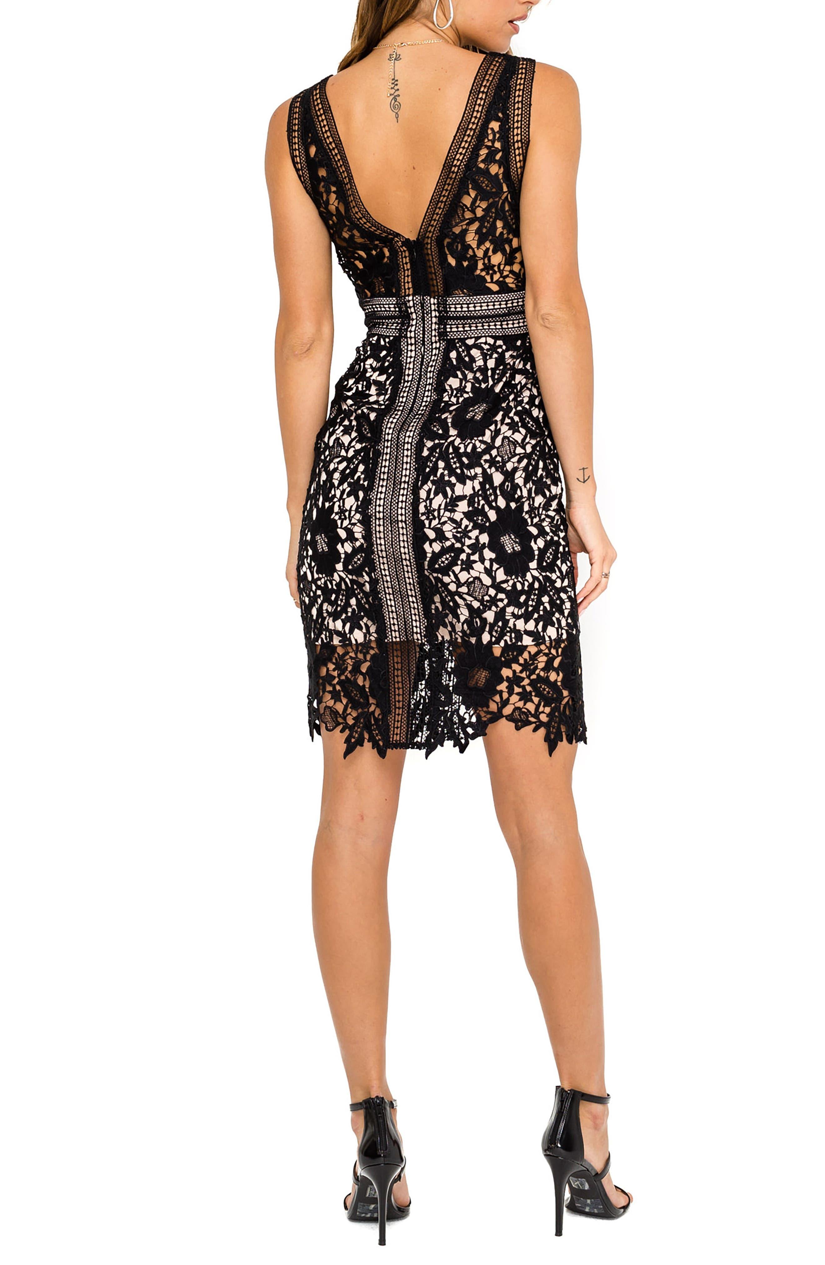 ASTR THE LABEL, Lace Sheath Dress, Alternate thumbnail 2, color, 001