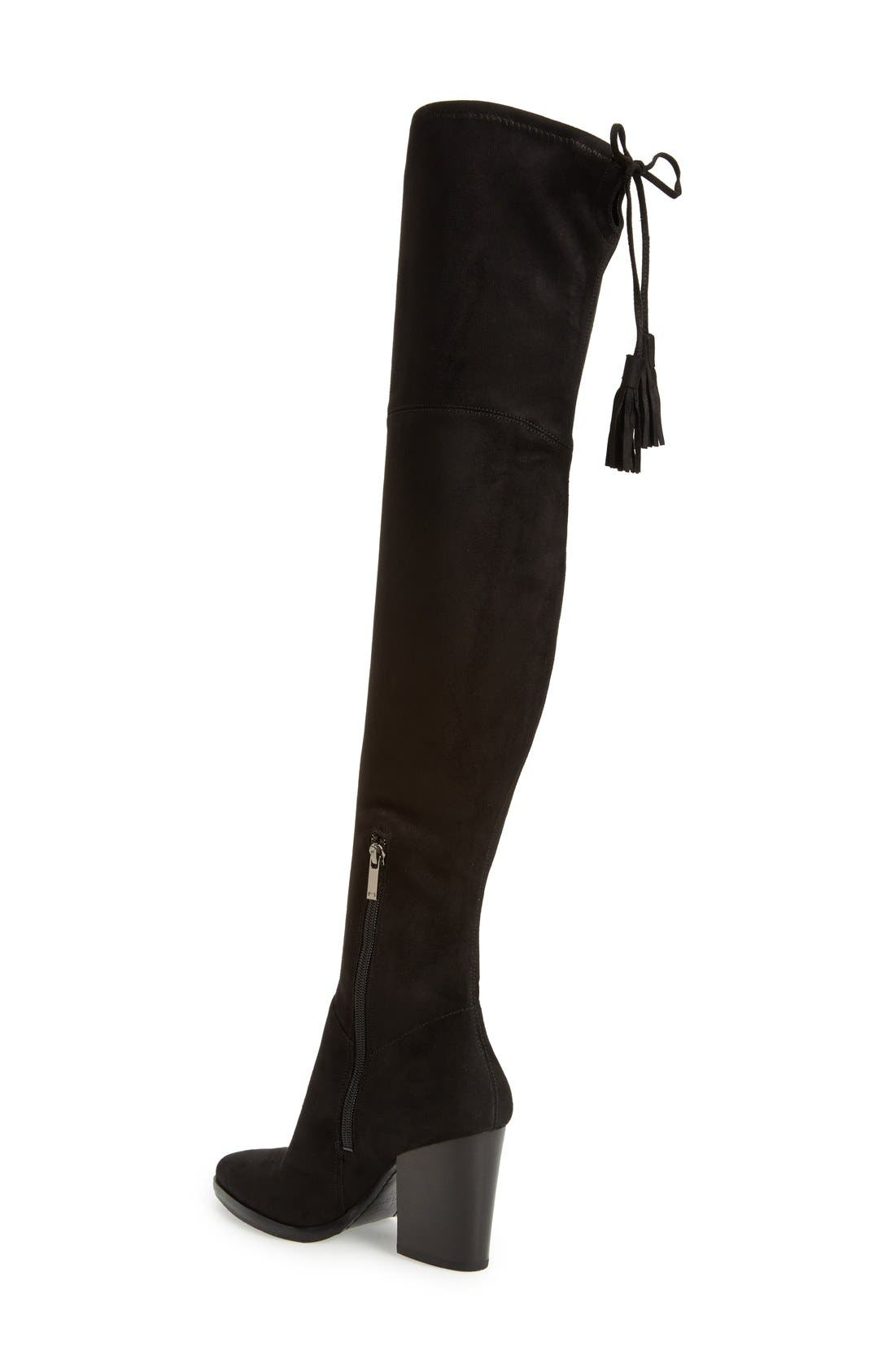 MARC FISHER LTD, Alinda Over the Knee Boot, Alternate thumbnail 3, color, BLACK STRETCH FABRIC