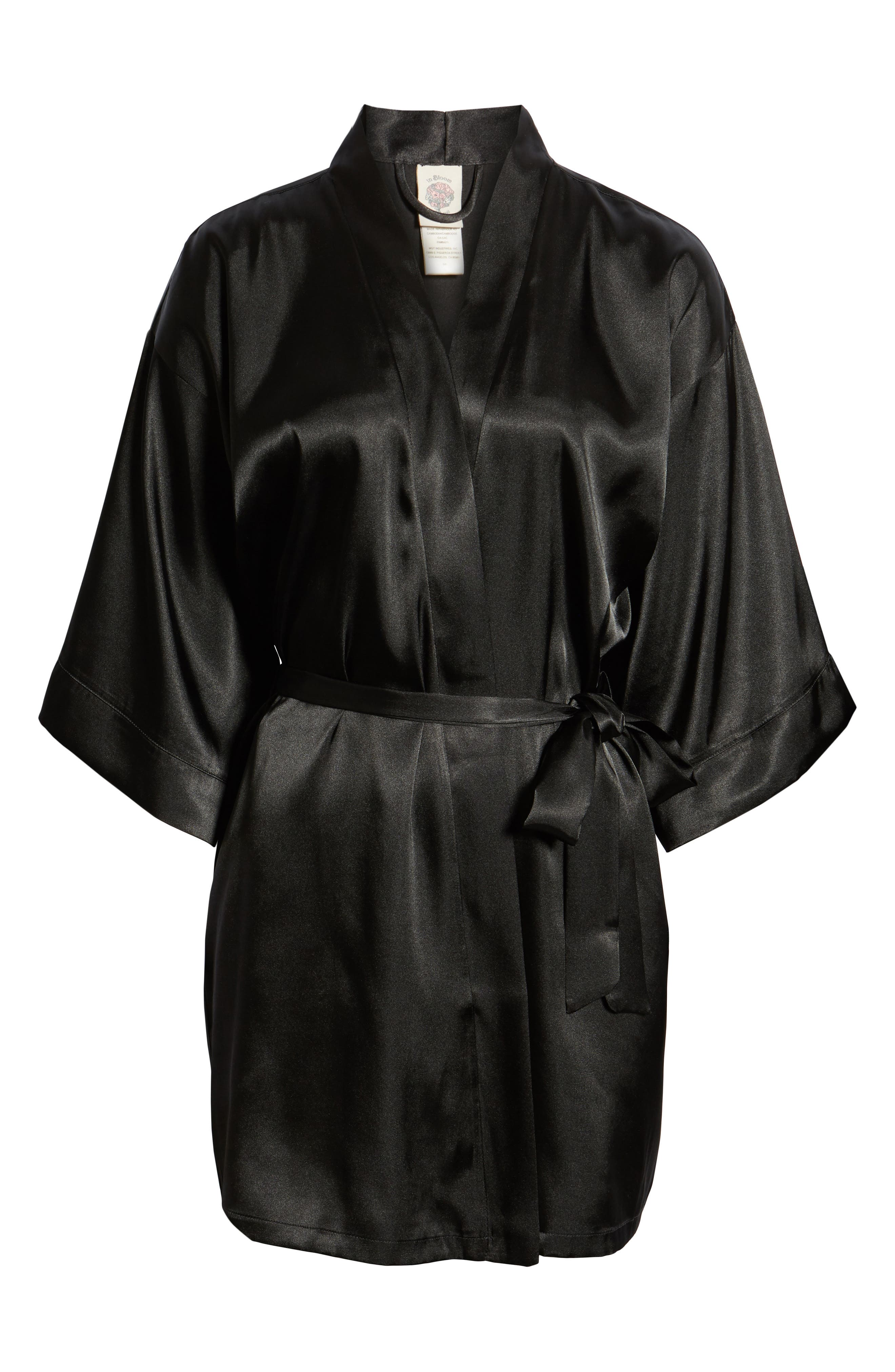 IN BLOOM BY JONQUIL, Satin Robe, Alternate thumbnail 2, color, BLACK
