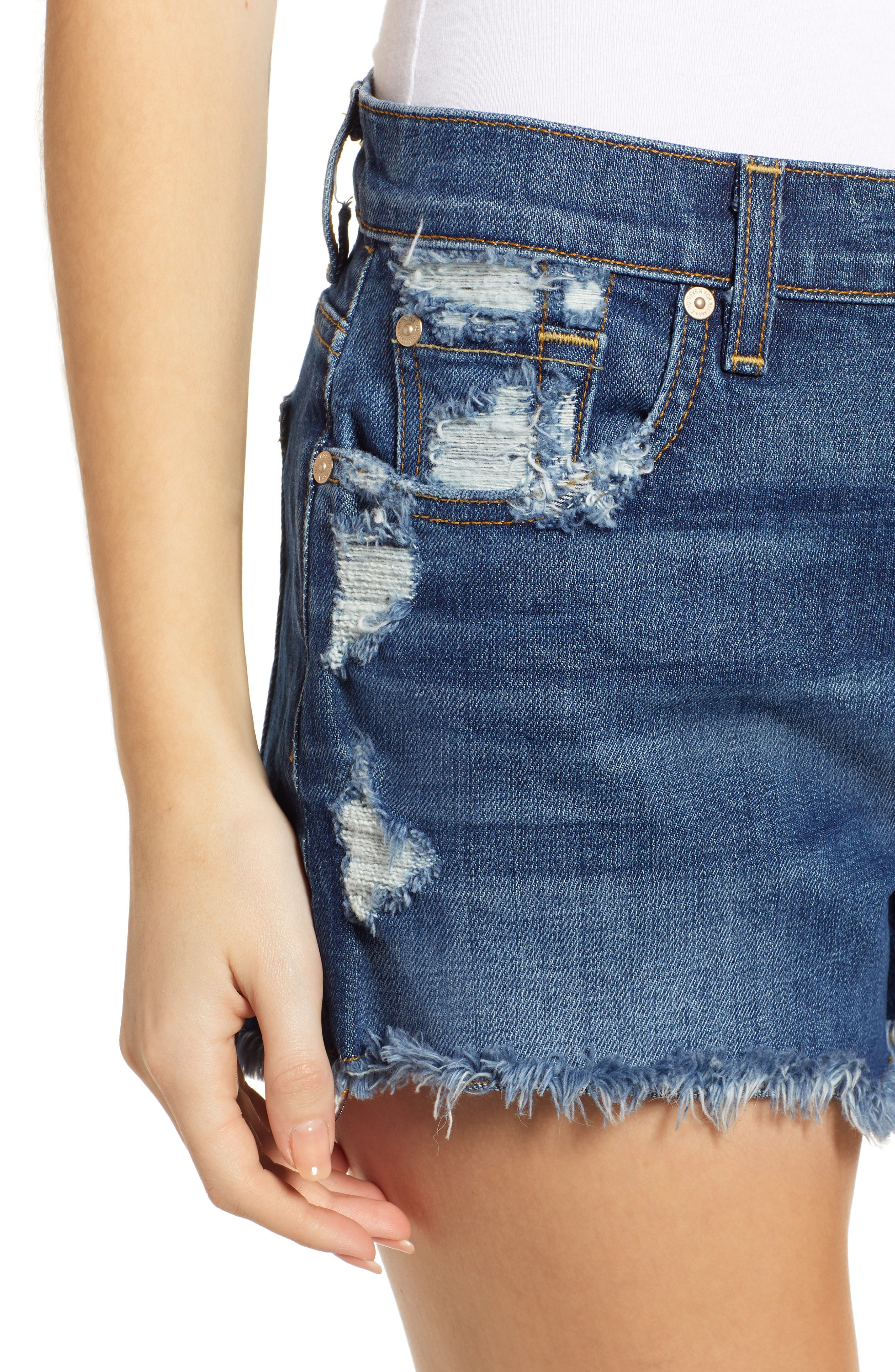 7 FOR ALL MANKIND<SUP>®</SUP>, High Waist Destroyed Cutoff Denim Shorts, Alternate thumbnail 5, color, BLUE MONDAY